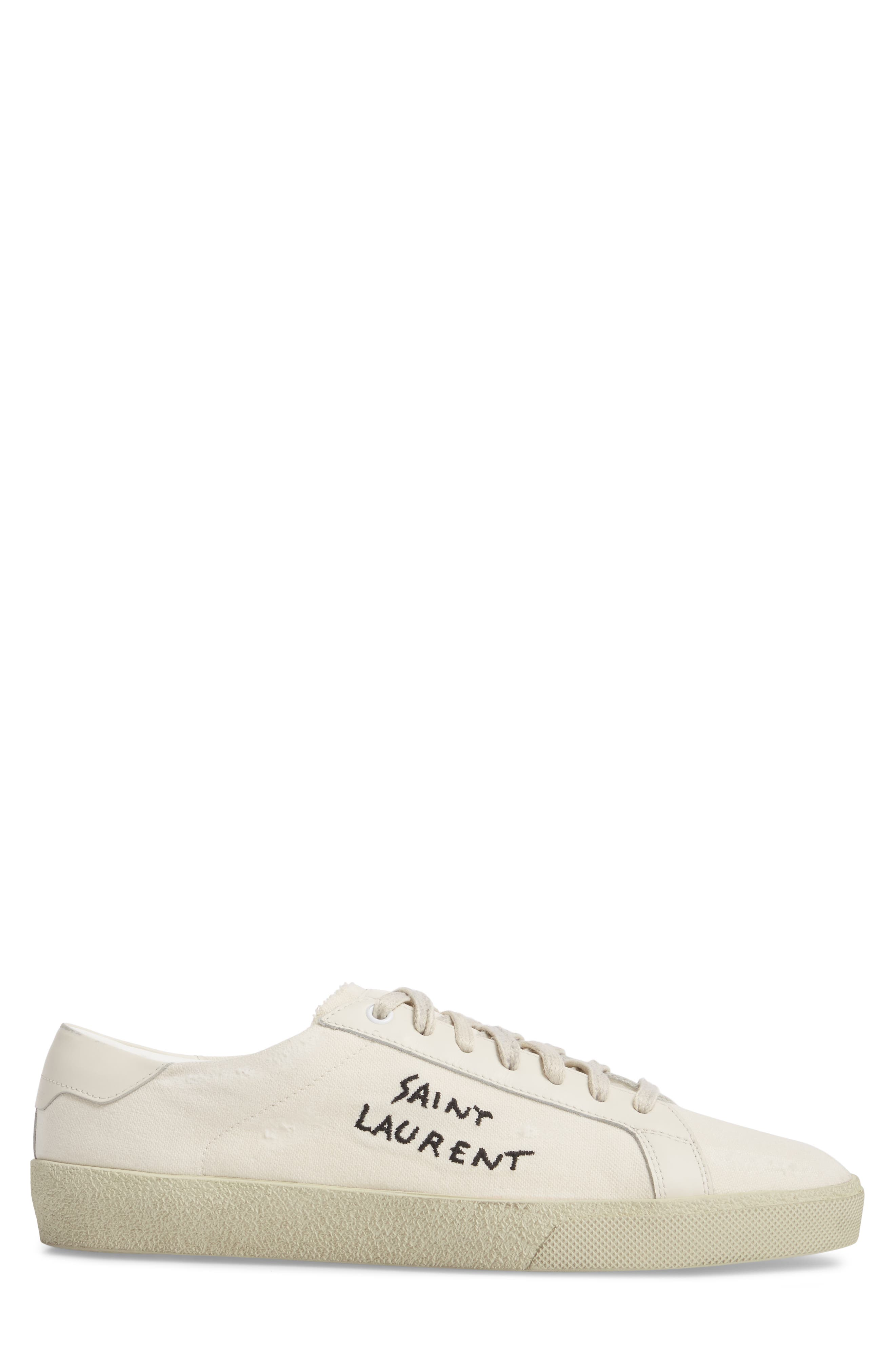 Embroidered Low Top Sneaker,                             Alternate thumbnail 3, color,                             Pesca