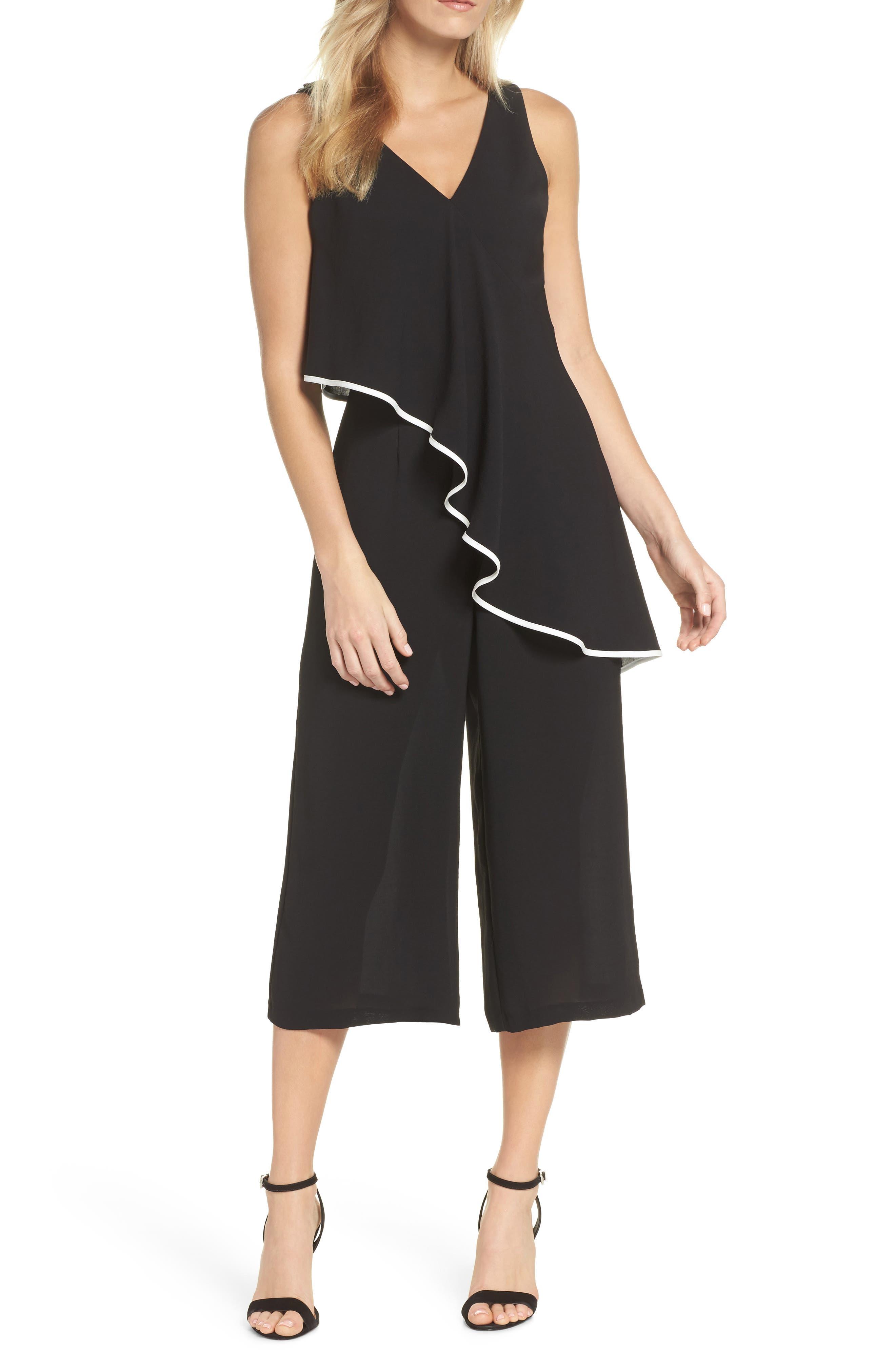 Contrast Trim Crop Jumpsuit,                             Main thumbnail 1, color,                             Black/ Ivory