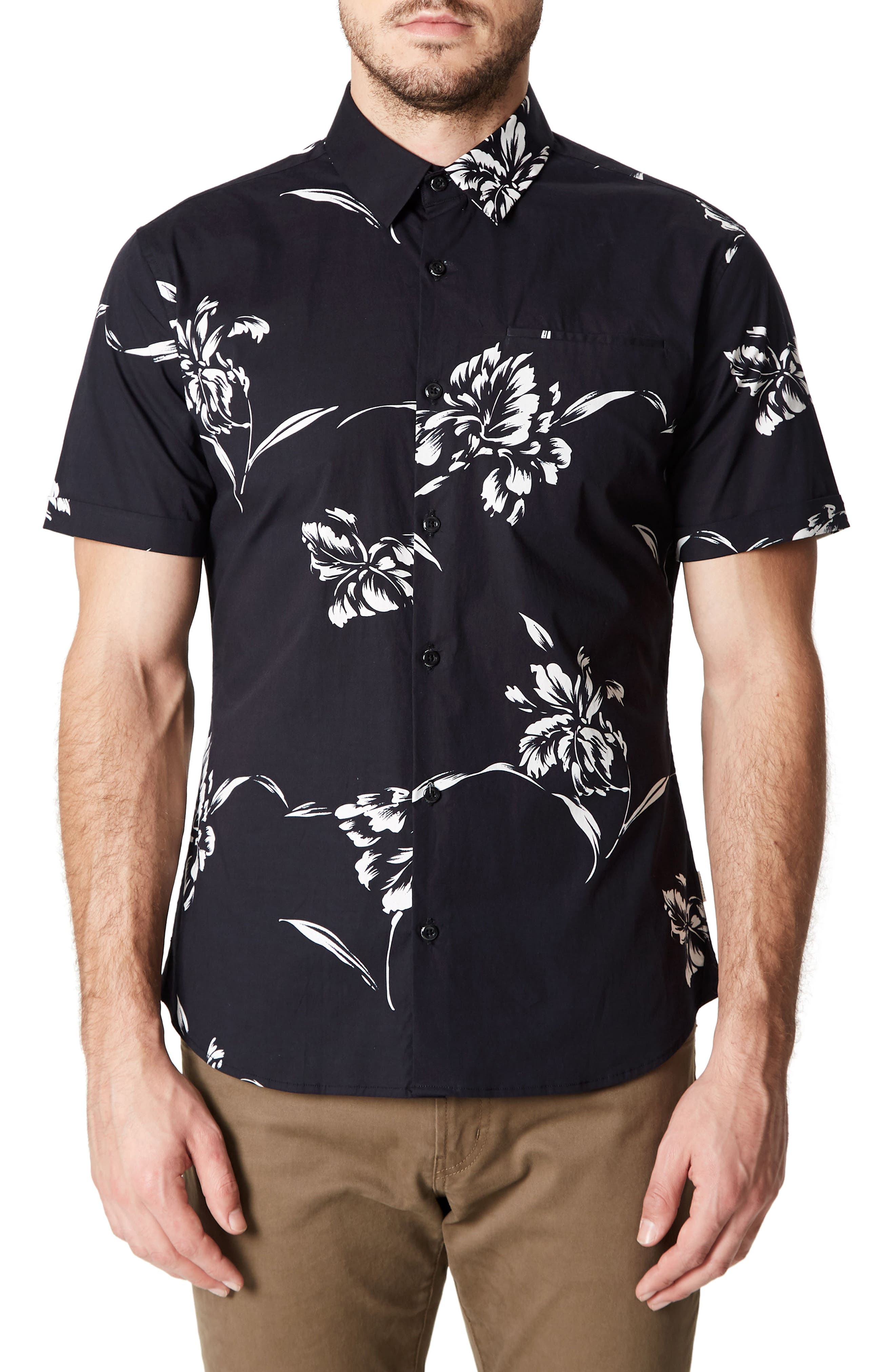 Harvest Moon Trim Fit Short Sleeve Sport Shirt,                         Main,                         color, Black
