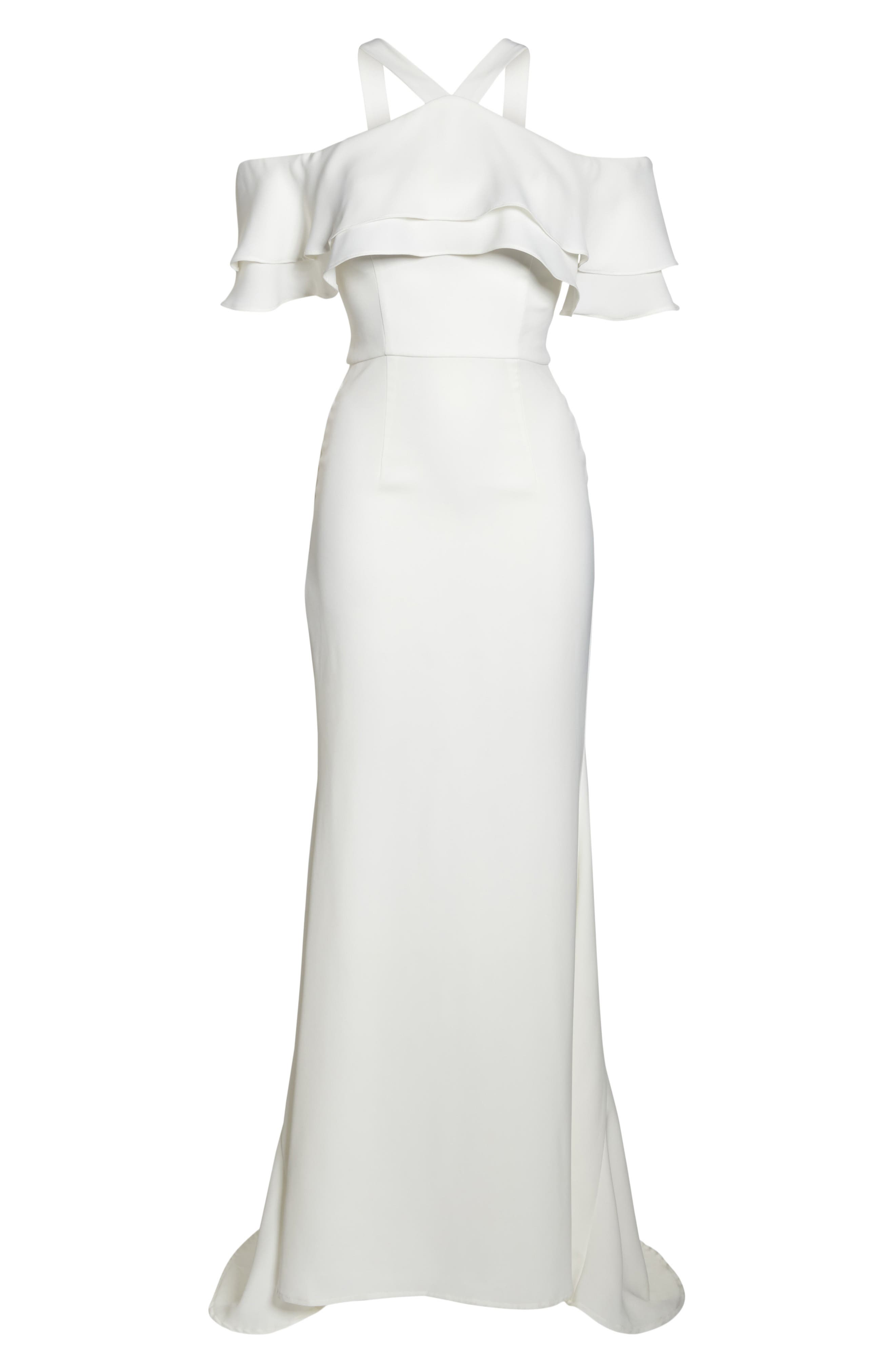 Dianne Ruffle Top Halter Gown,                             Alternate thumbnail 6, color,                             White