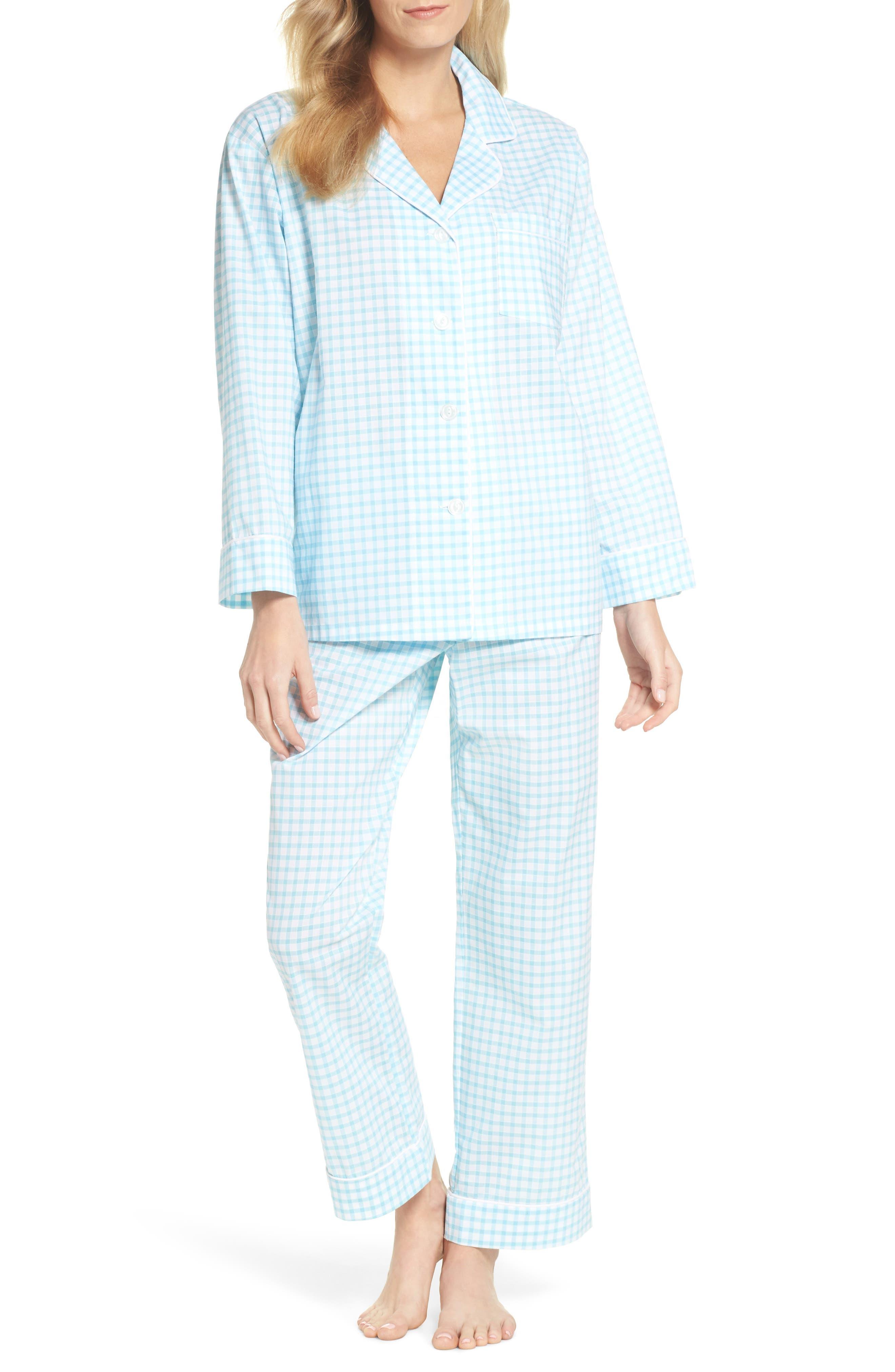 Gingham Pajamas,                             Main thumbnail 1, color,                             Aqua Gingham