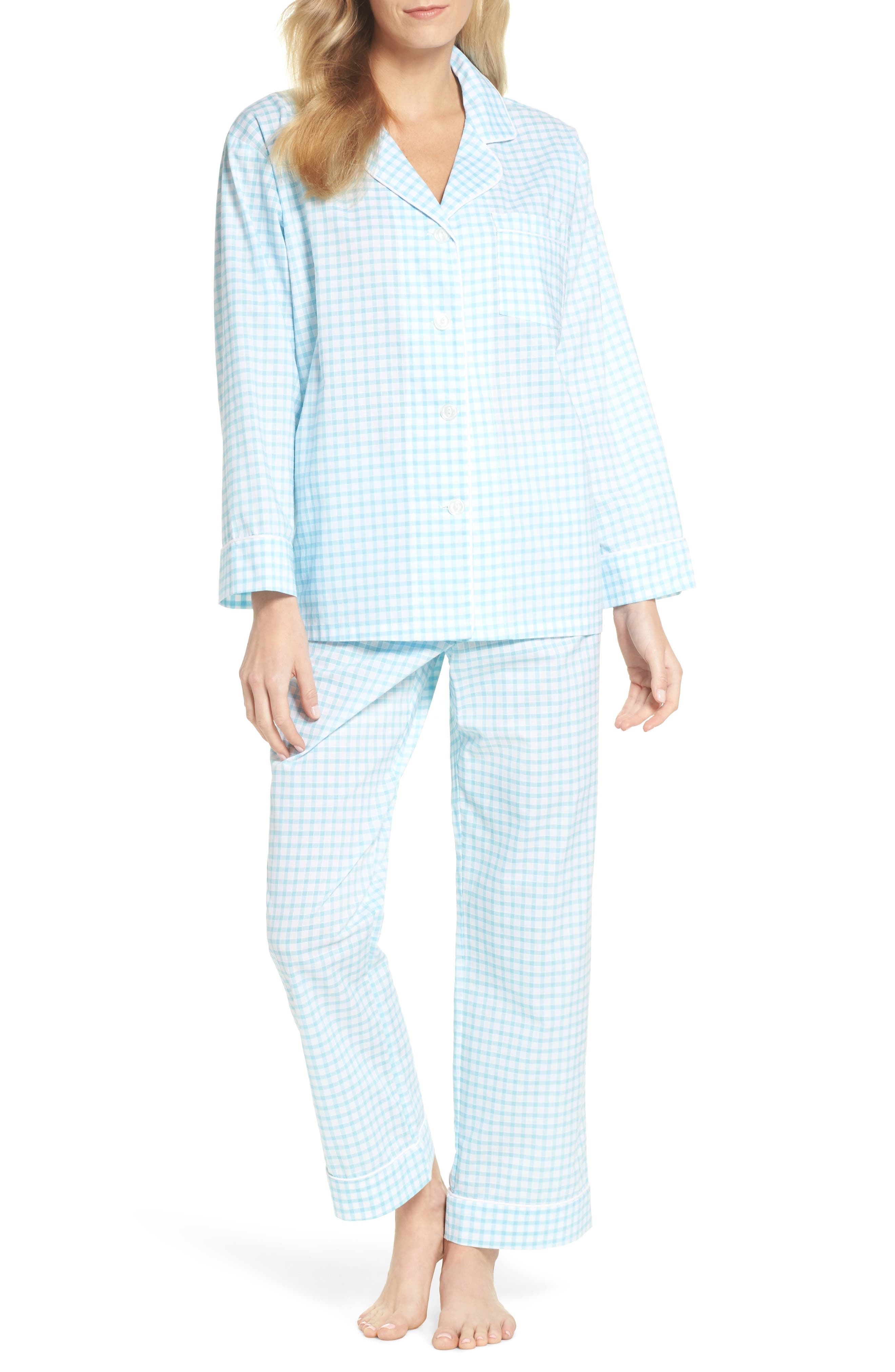 Gingham Pajamas,                         Main,                         color, Aqua Gingham