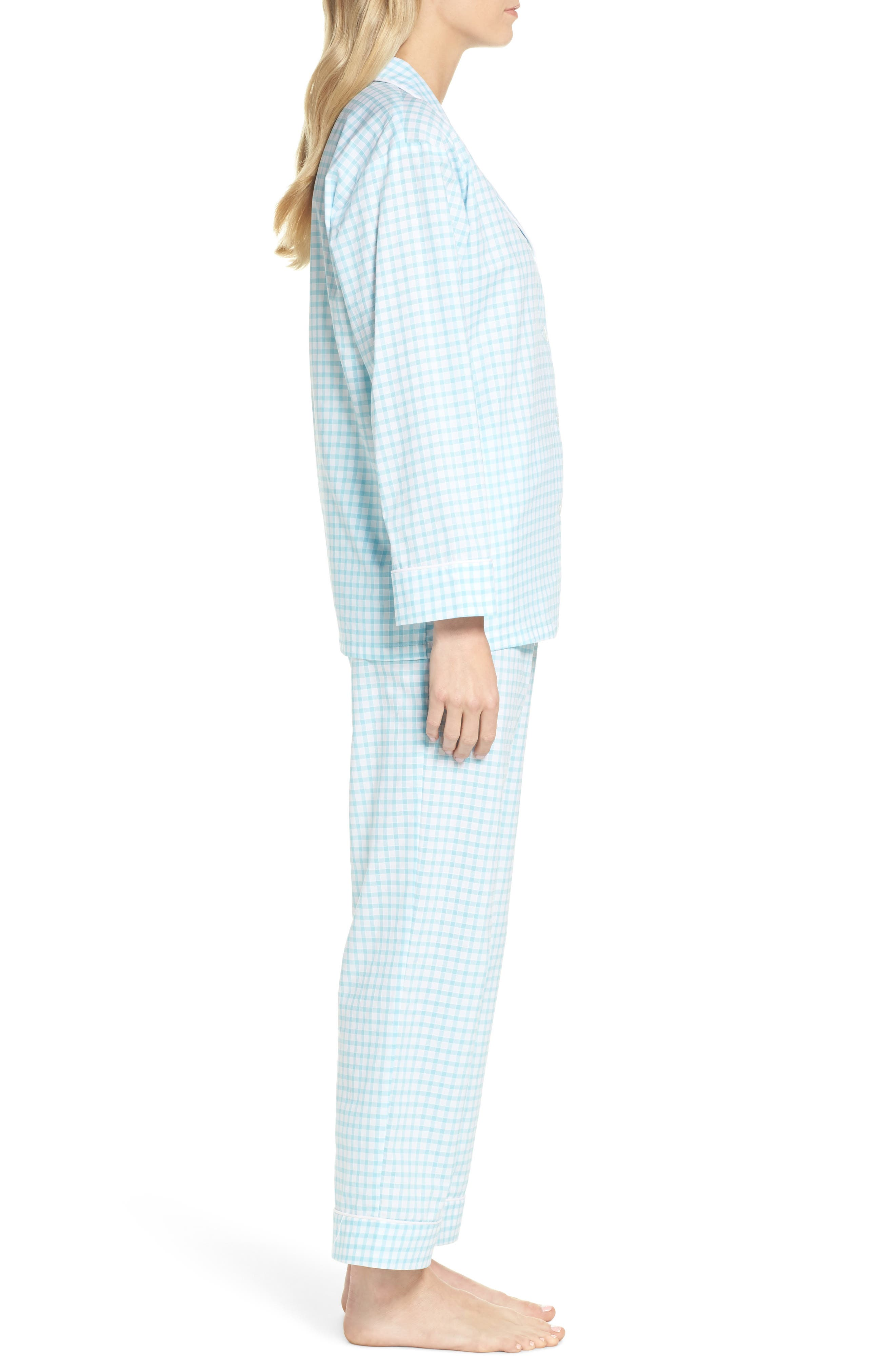 Gingham Pajamas,                             Alternate thumbnail 3, color,                             Aqua Gingham