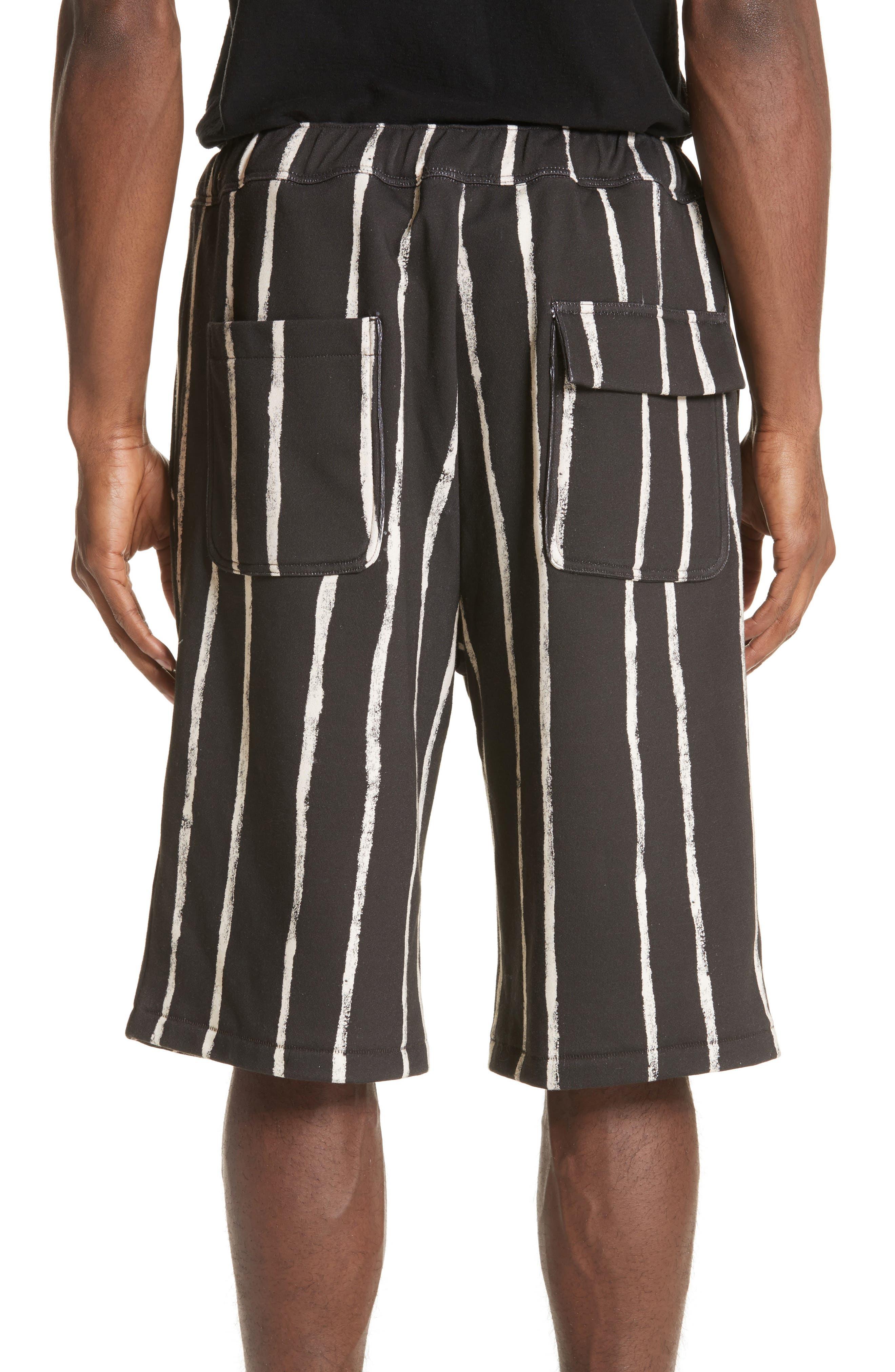 Striped Paint Shorts,                             Alternate thumbnail 2, color,                             Black/ White