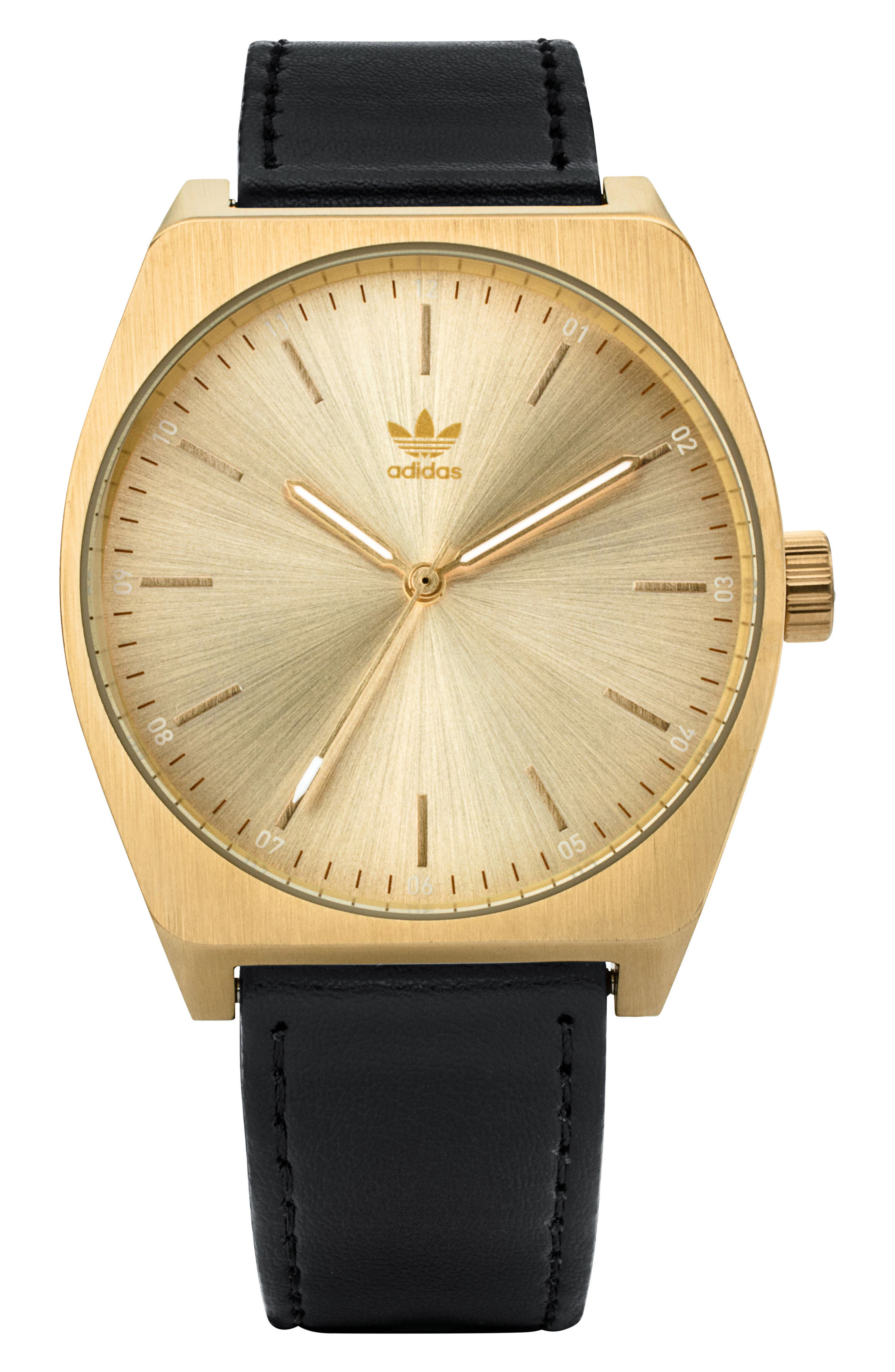 Process Leather Strap Watch, 38mm,                         Main,                         color, Gold/ Black