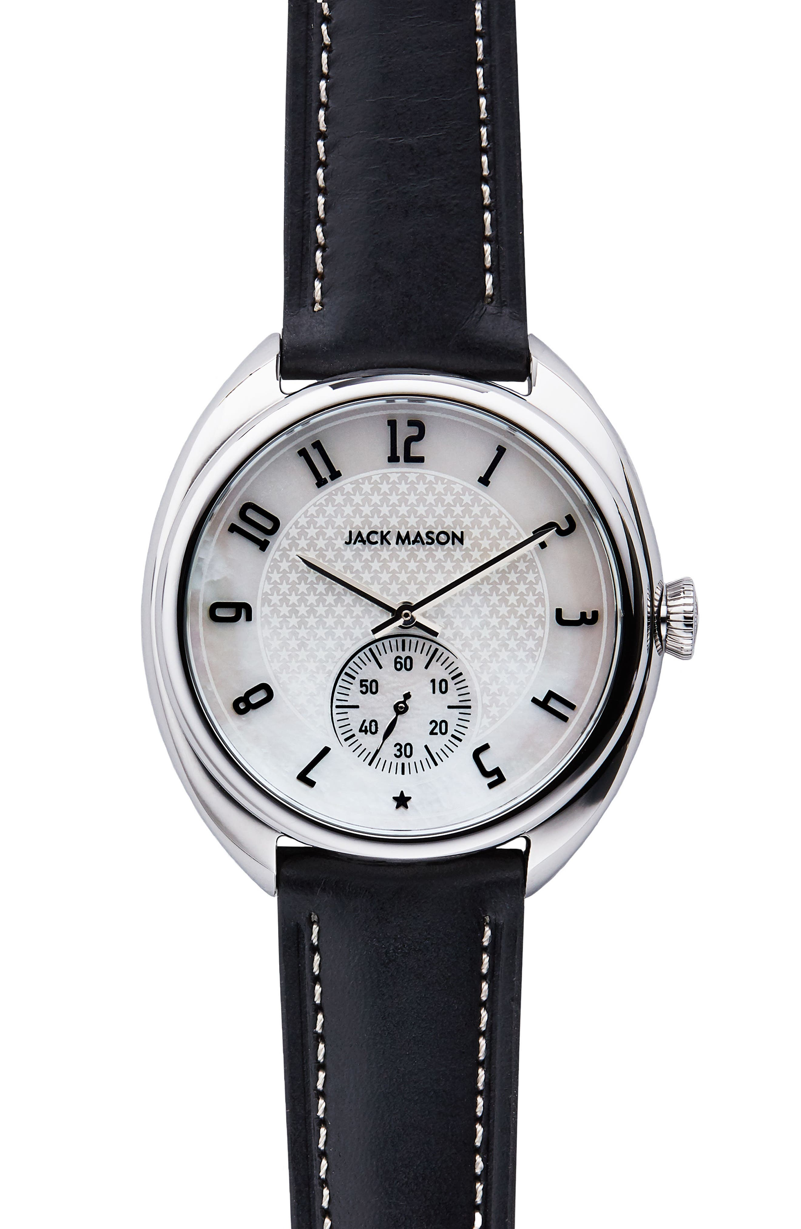 Issue No. 1 Leather Strap Watch, 41mm,                         Main,                         color, Black/ Mop/ Silver