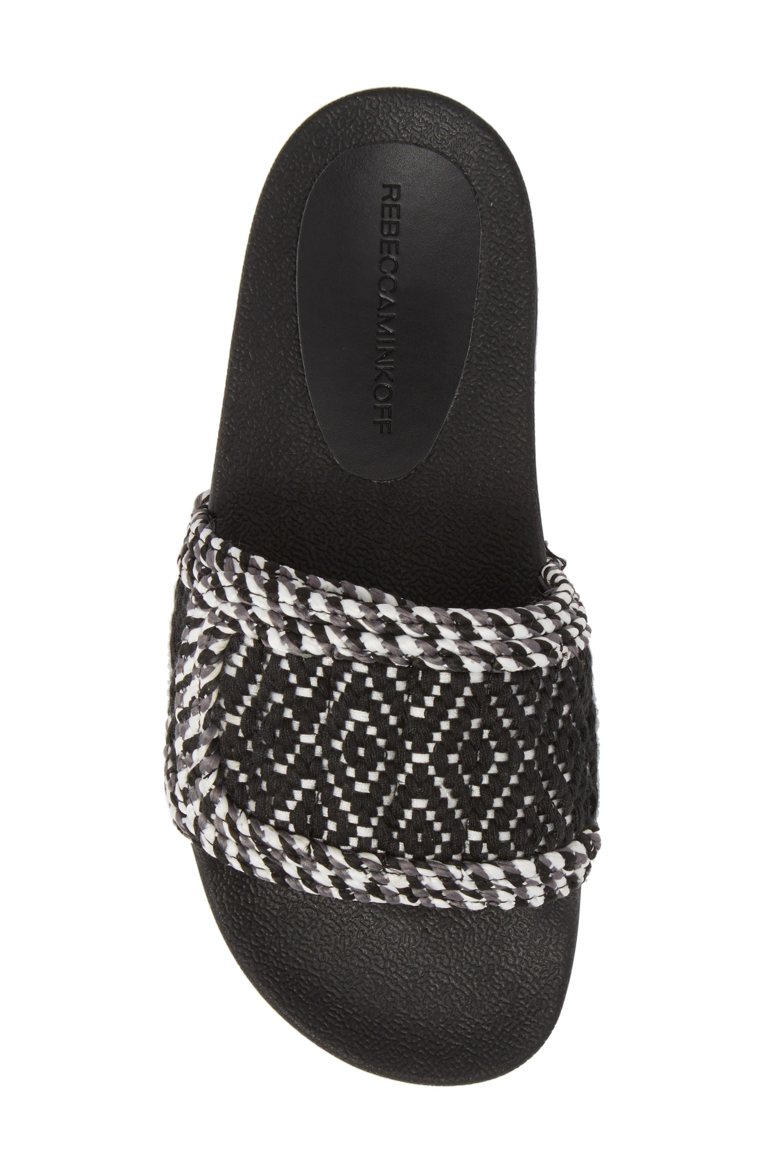 Tressa Woven Slide Sandal,                             Alternate thumbnail 5, color,                             Black/ White Woven Fabric