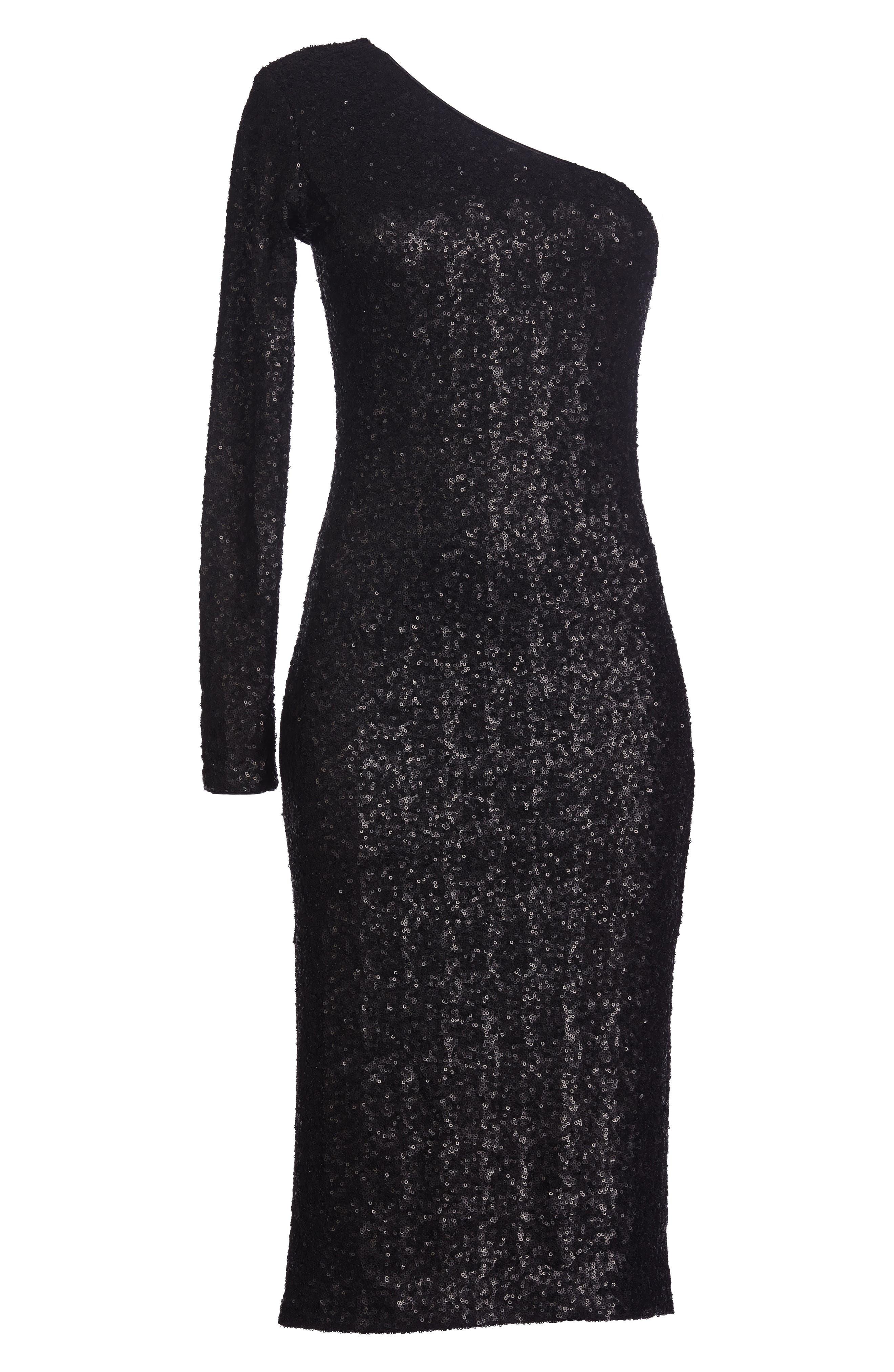 Chrissie Sequin One-Shoulder Dress,                             Alternate thumbnail 5, color,                             Matte Black