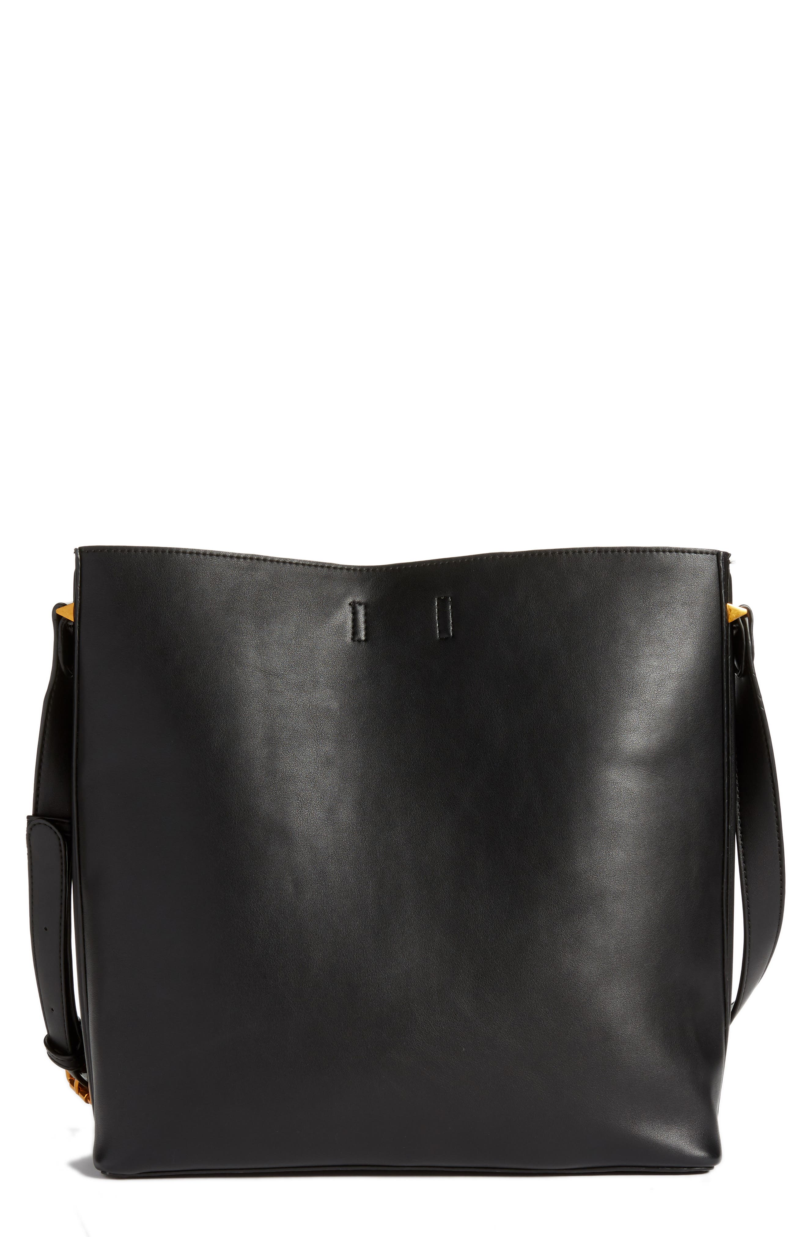 Faux Leather Bucket Tote,                             Alternate thumbnail 3, color,                             Black
