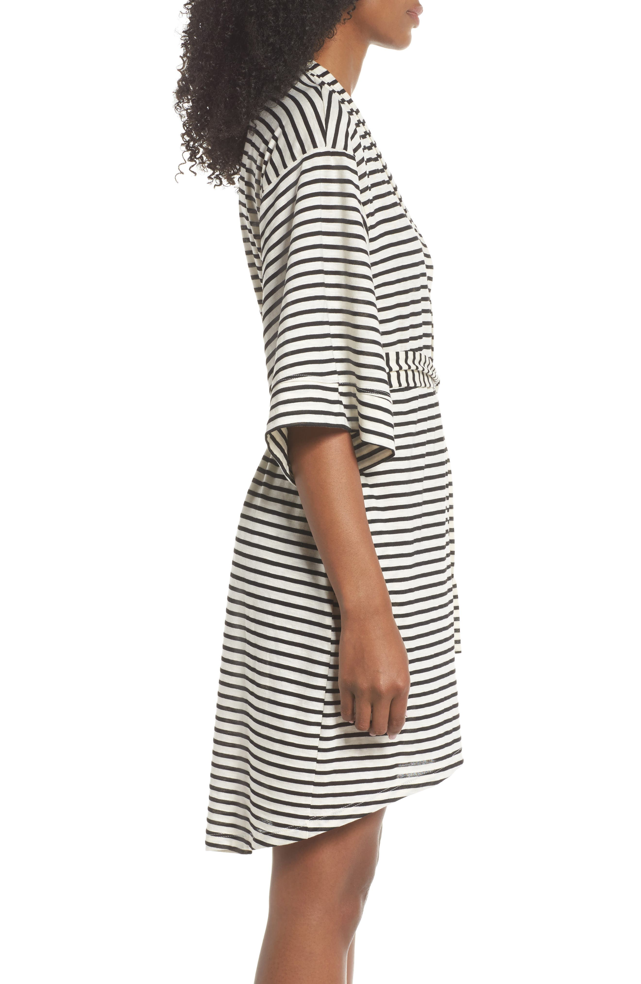 Florence Short Robe,                             Alternate thumbnail 3, color,                             Pearl Stripe