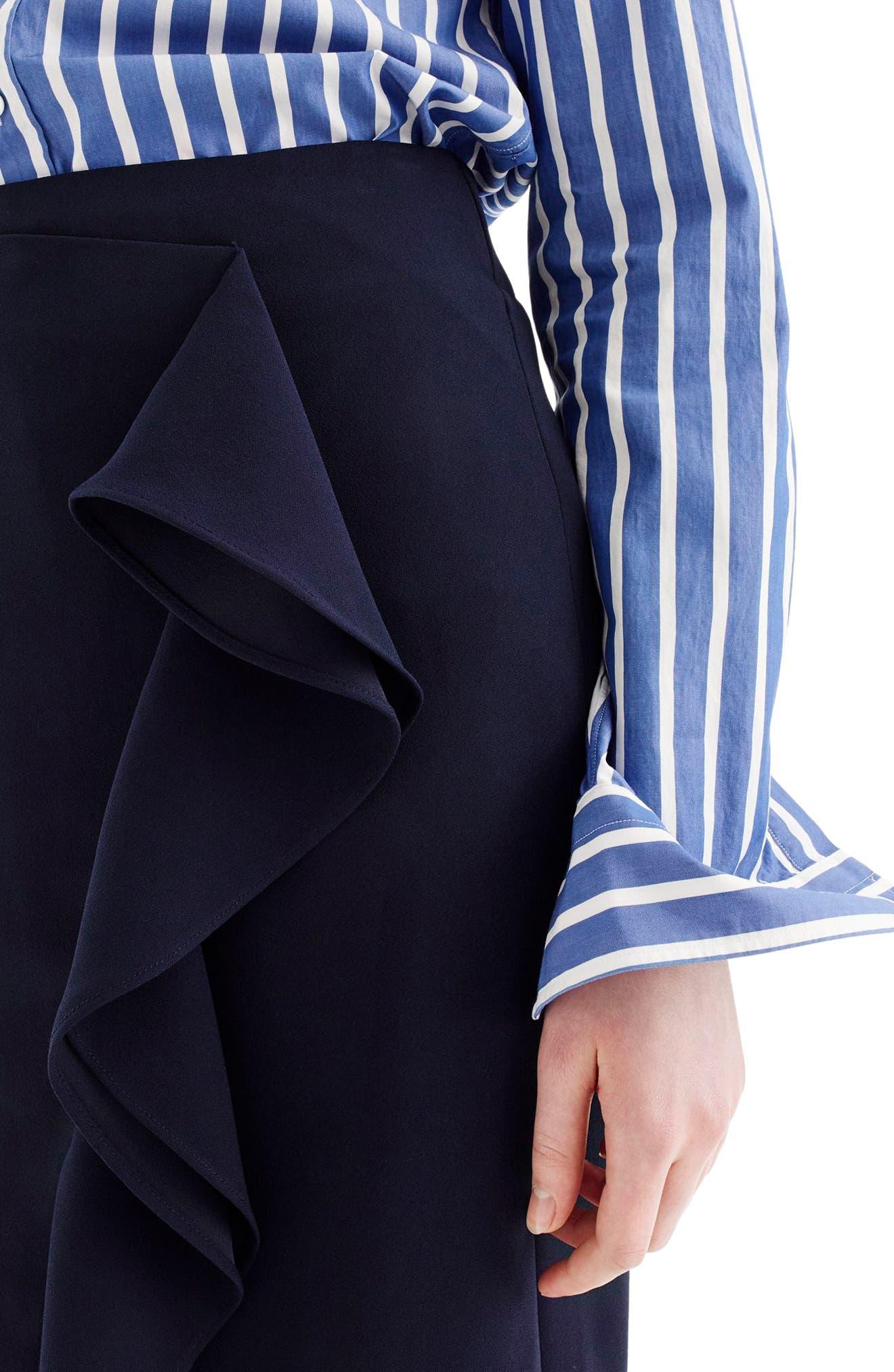 J.Crew 365 Crepe Ruffle Pencil Skirt,                             Alternate thumbnail 4, color,                             Navy