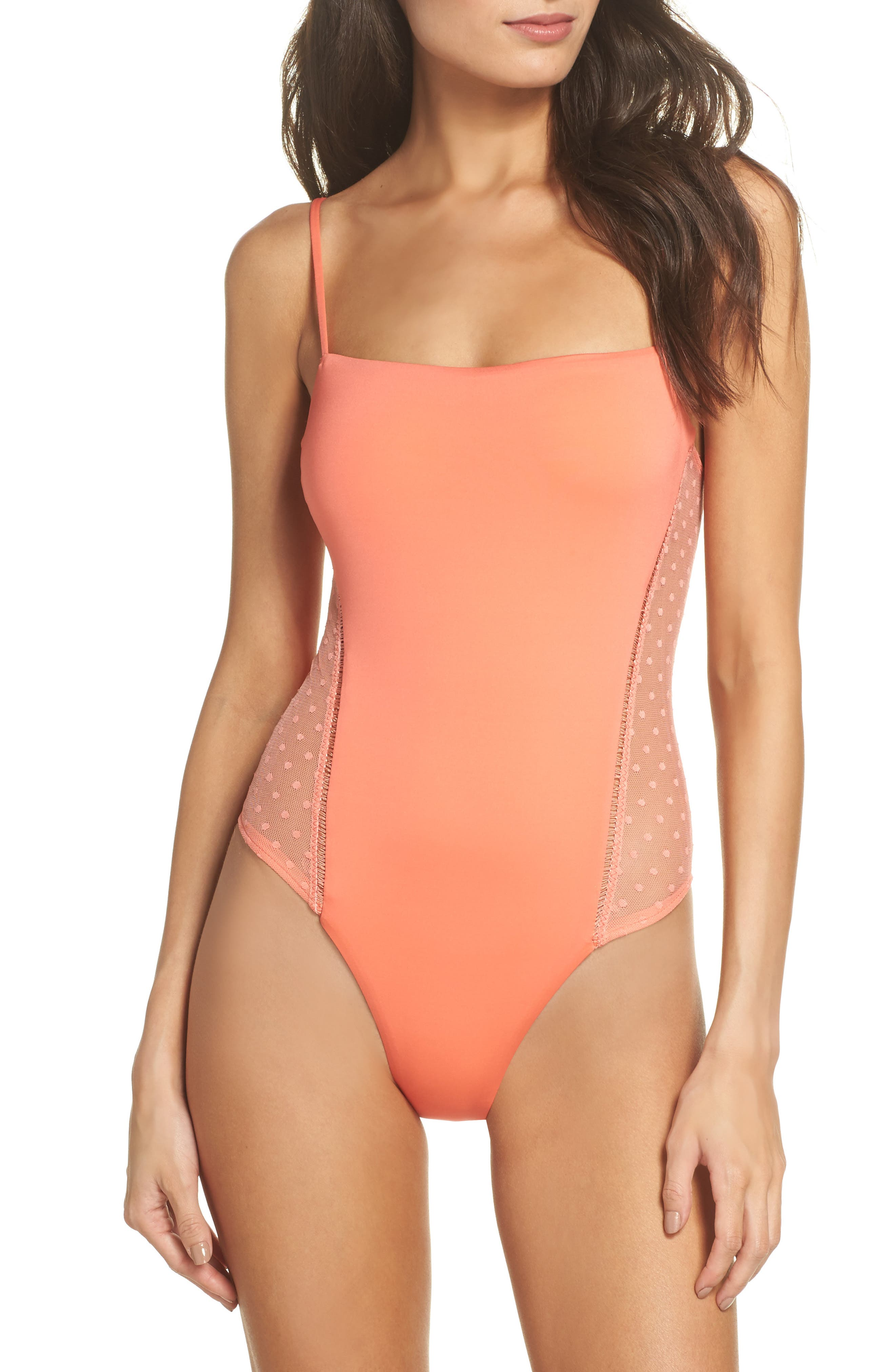 Swiss Miss One-Piece Swimsuit,                             Main thumbnail 1, color,                             Persimmon