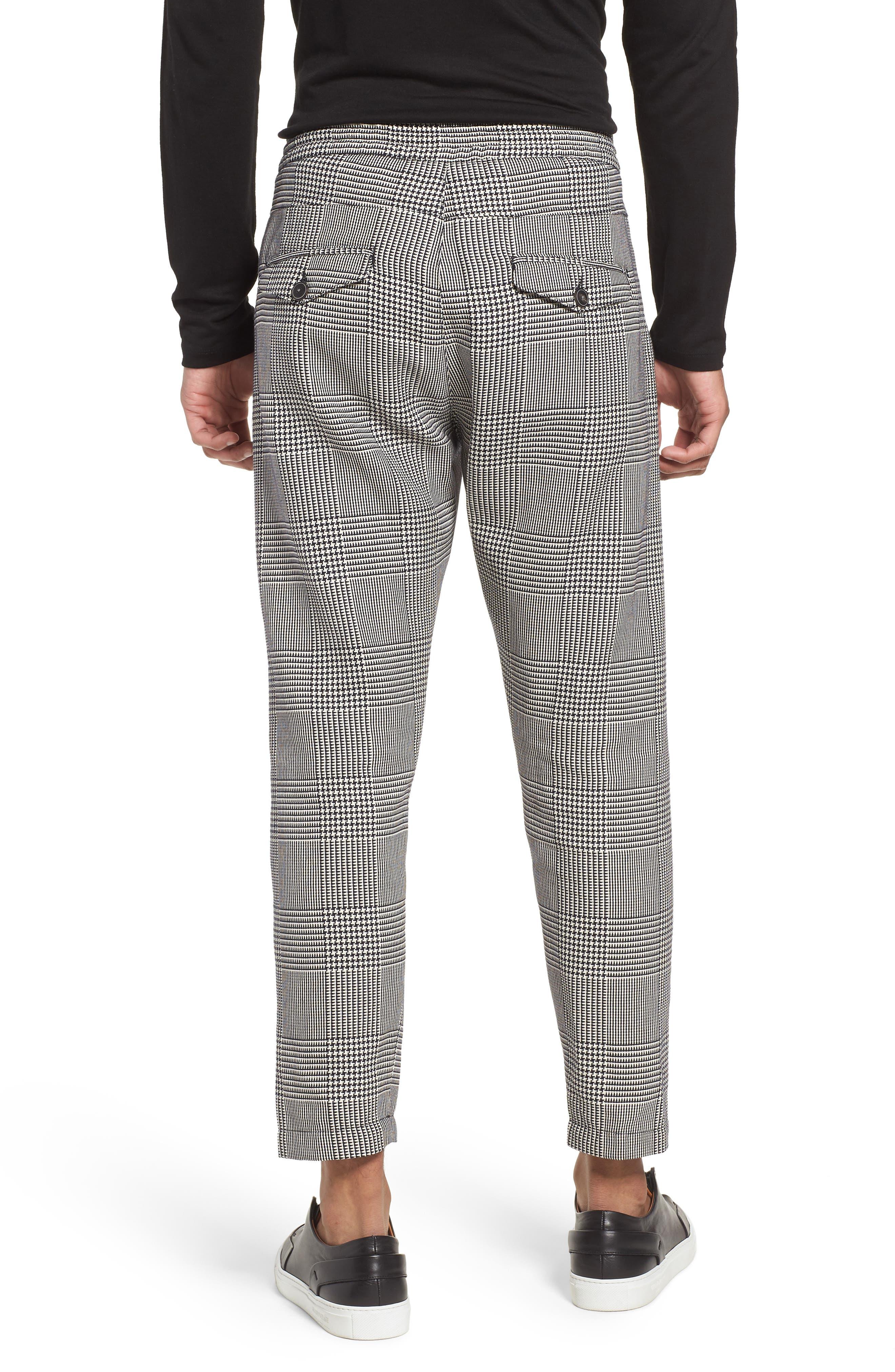 Prince of Wales Check Jogger Pants,                             Alternate thumbnail 2, color,                             Blk/White