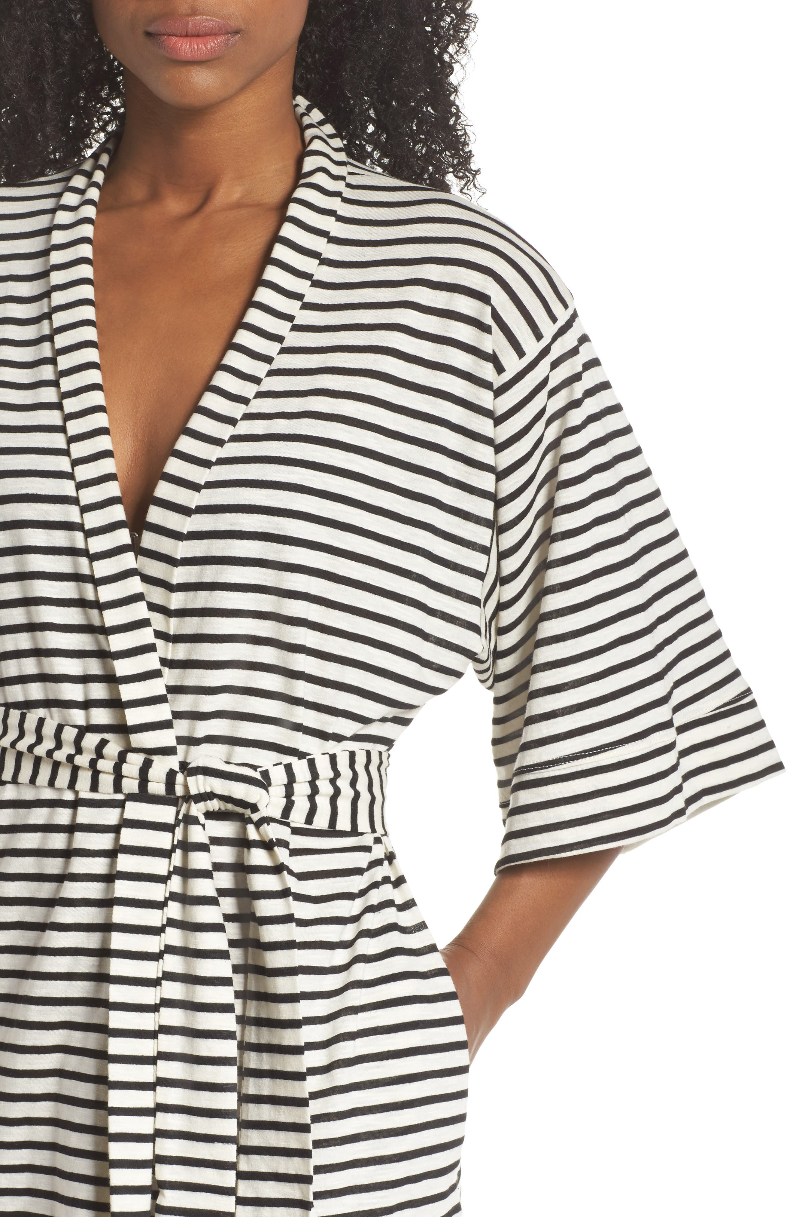 Florence Short Robe,                             Alternate thumbnail 5, color,                             Pearl Stripe