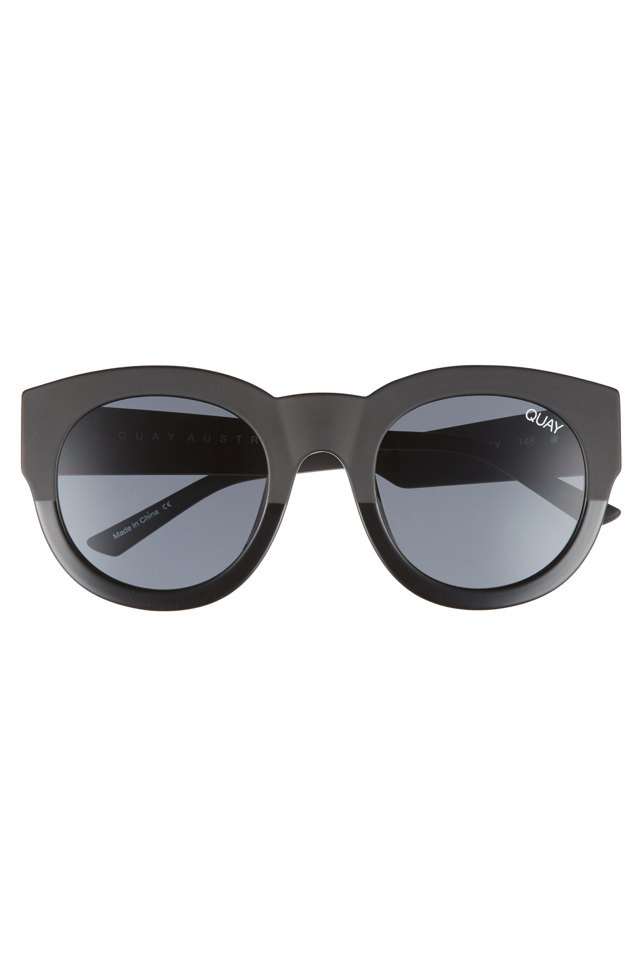 If Only 50mm Round Sunglasses,                             Alternate thumbnail 3, color,                             Black/ Smoke