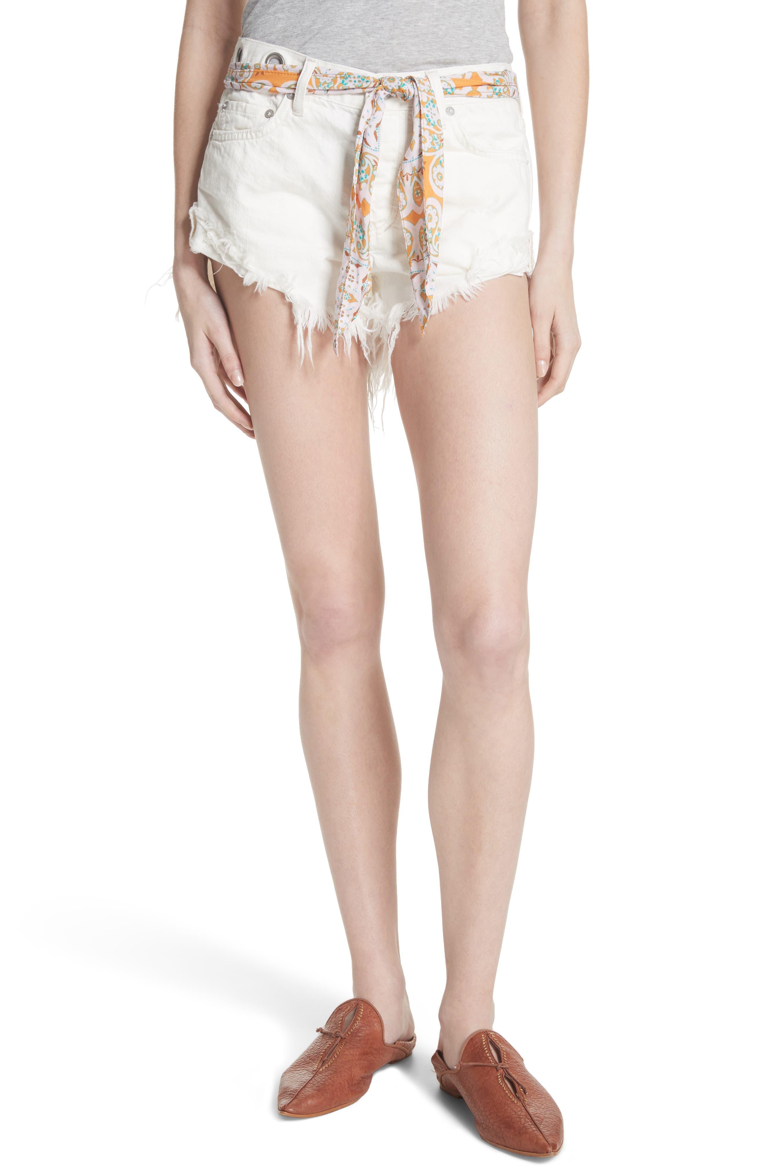 Cutoff Denim Shorts,                         Main,                         color, White