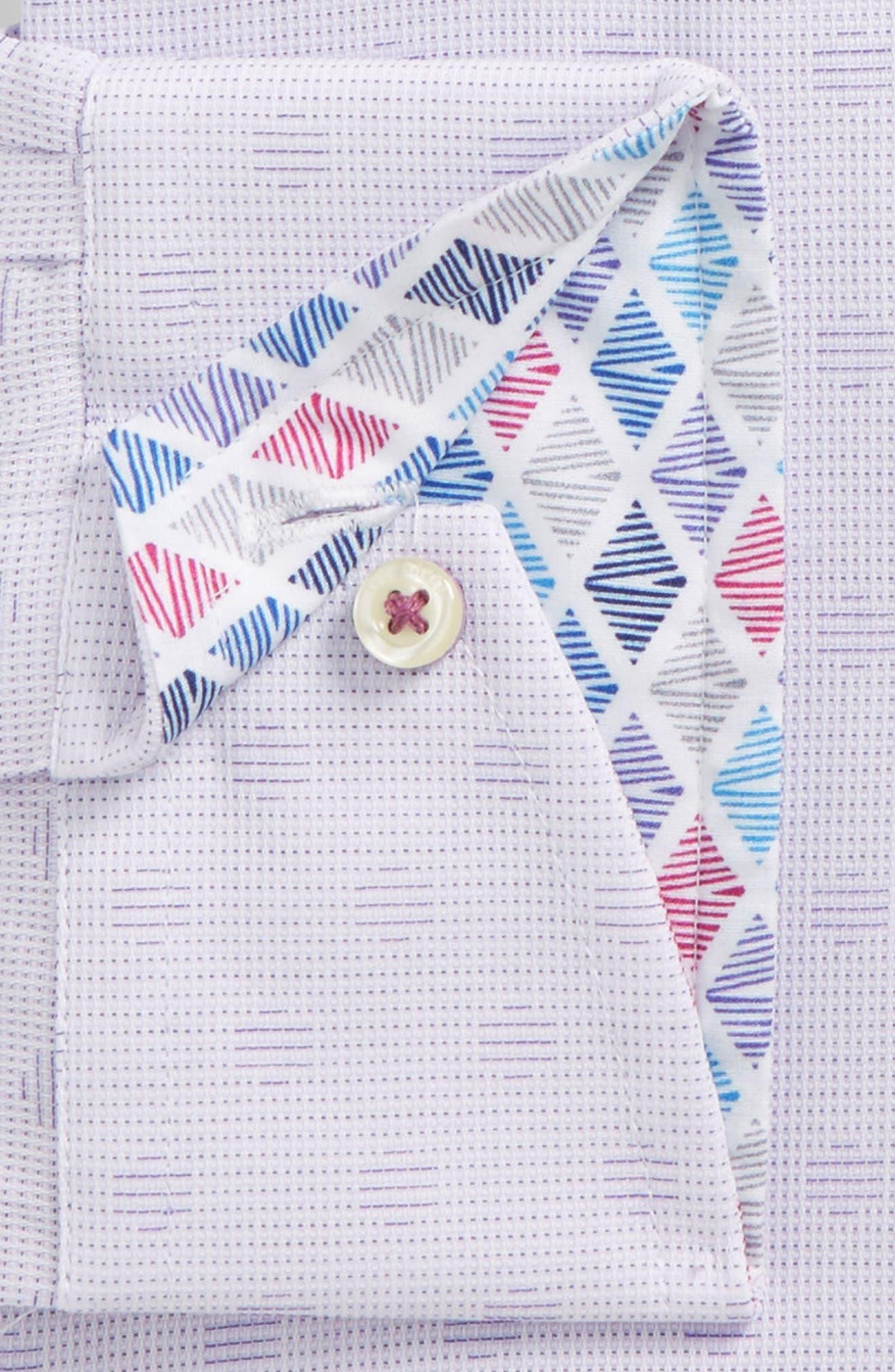 Racking Trim Fit Dot Dress Shirt,                             Alternate thumbnail 5, color,                             Purple