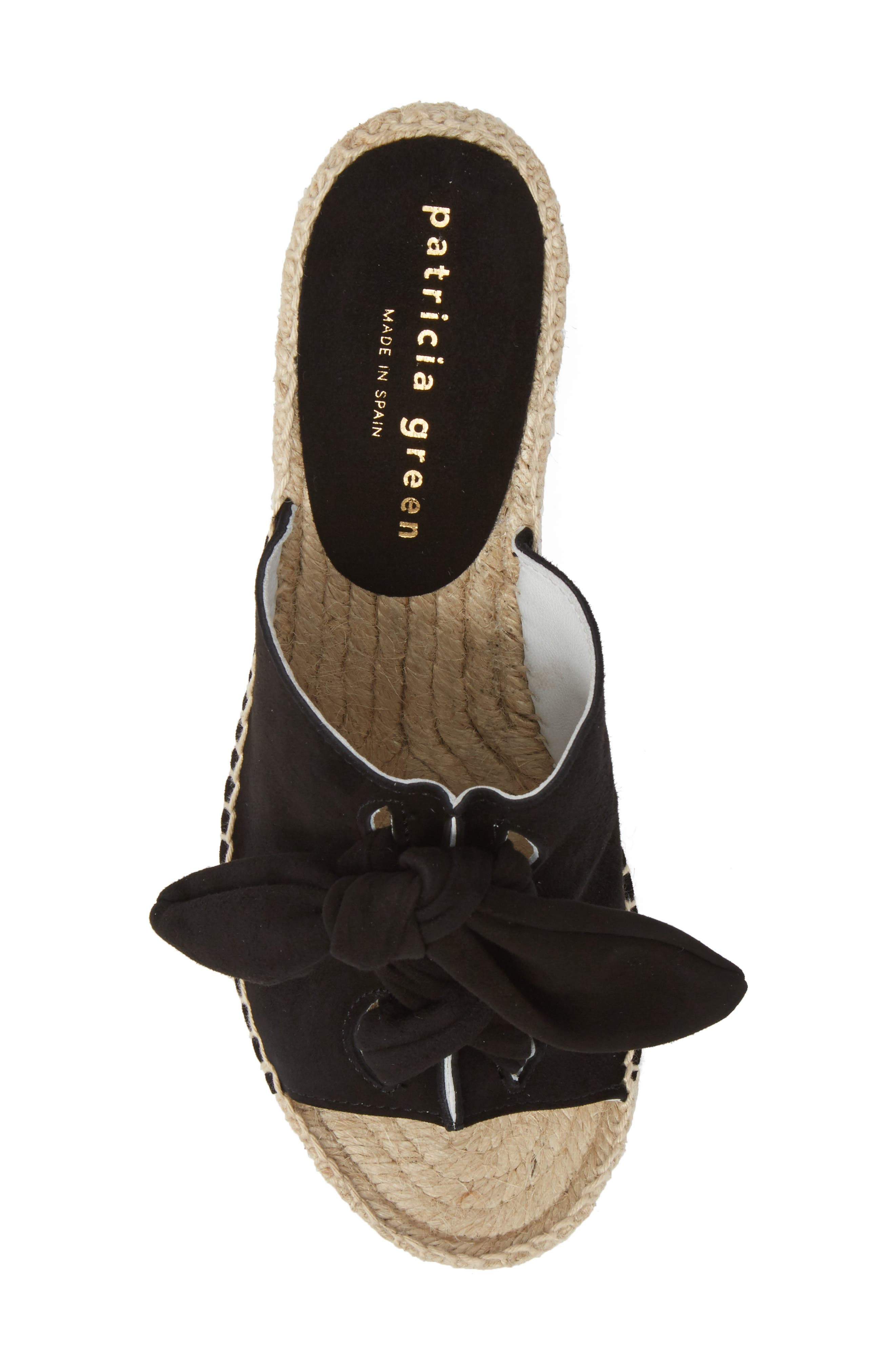 Flirt Espadrille Wedge Sandal,                             Alternate thumbnail 5, color,                             Black Suede