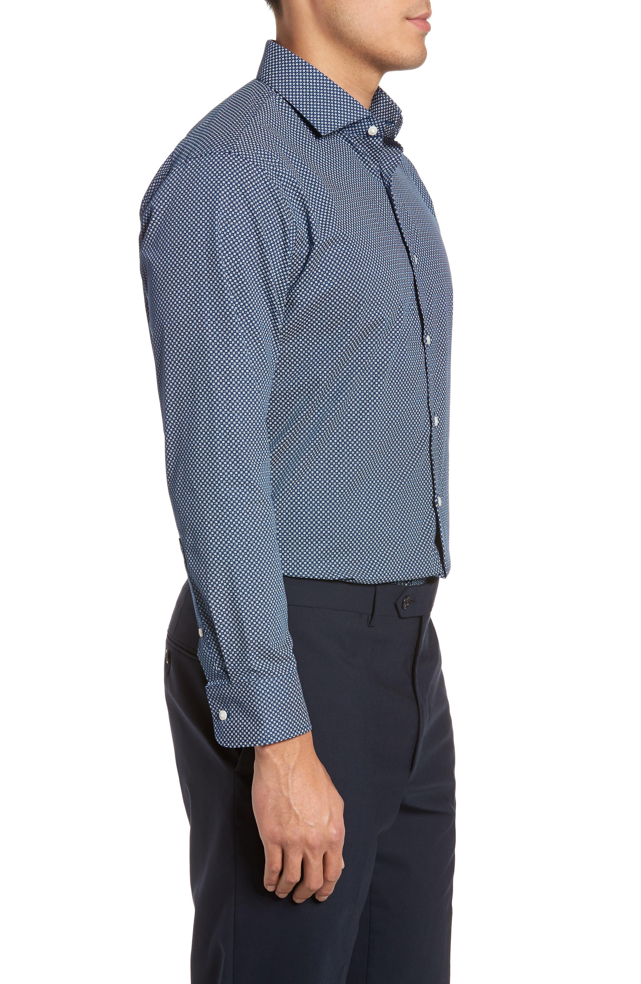 Trim Fit Dress Shirt,                             Alternate thumbnail 4, color,                             Navy Night