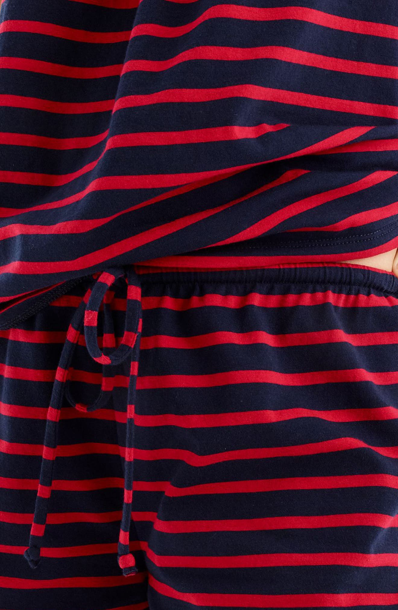 Stripe Short Pajamas,                             Alternate thumbnail 4, color,                             Navy Red