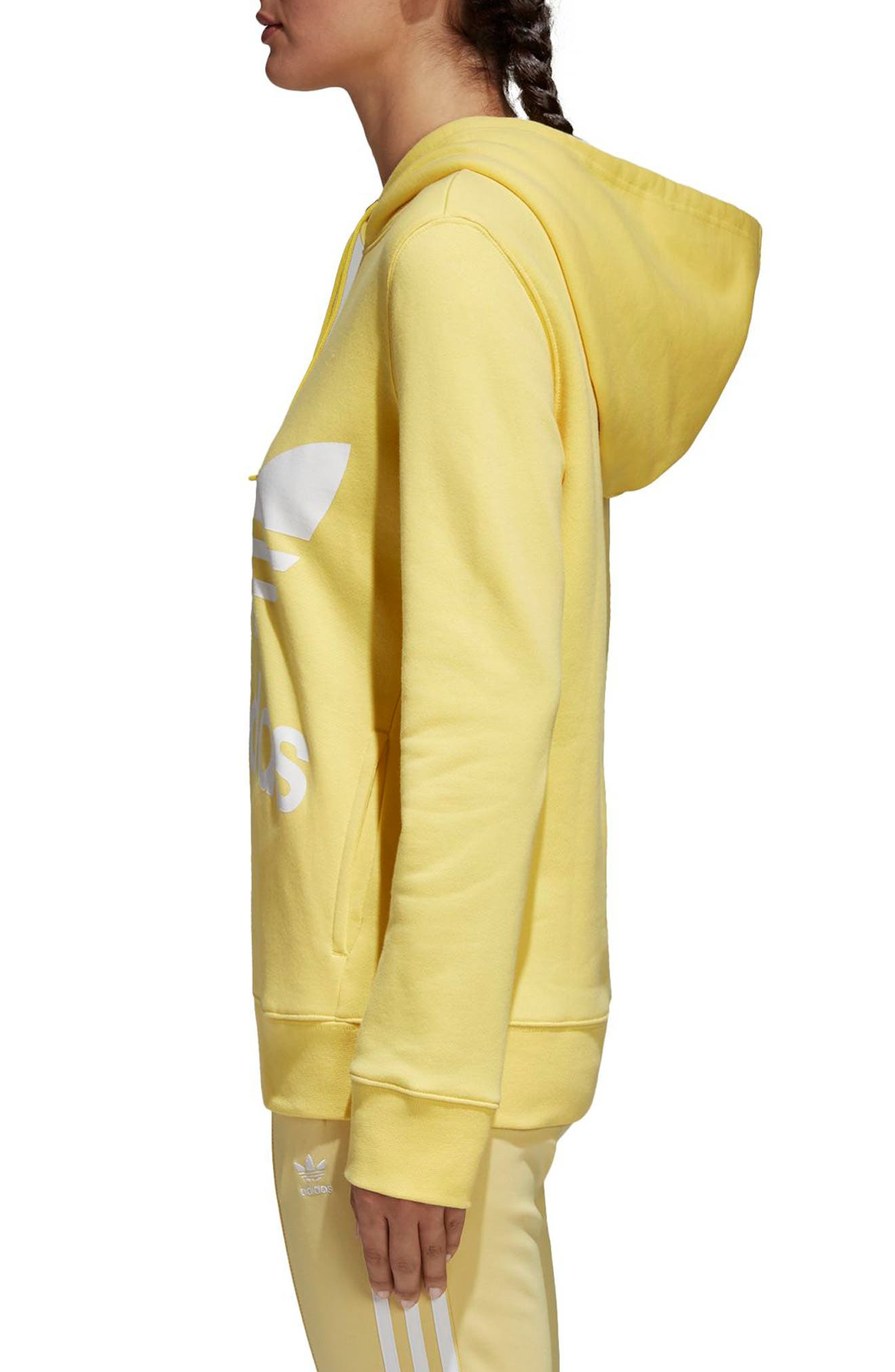 Originals Trefoil Hoodie,                             Alternate thumbnail 3, color,                             Intense Lemon