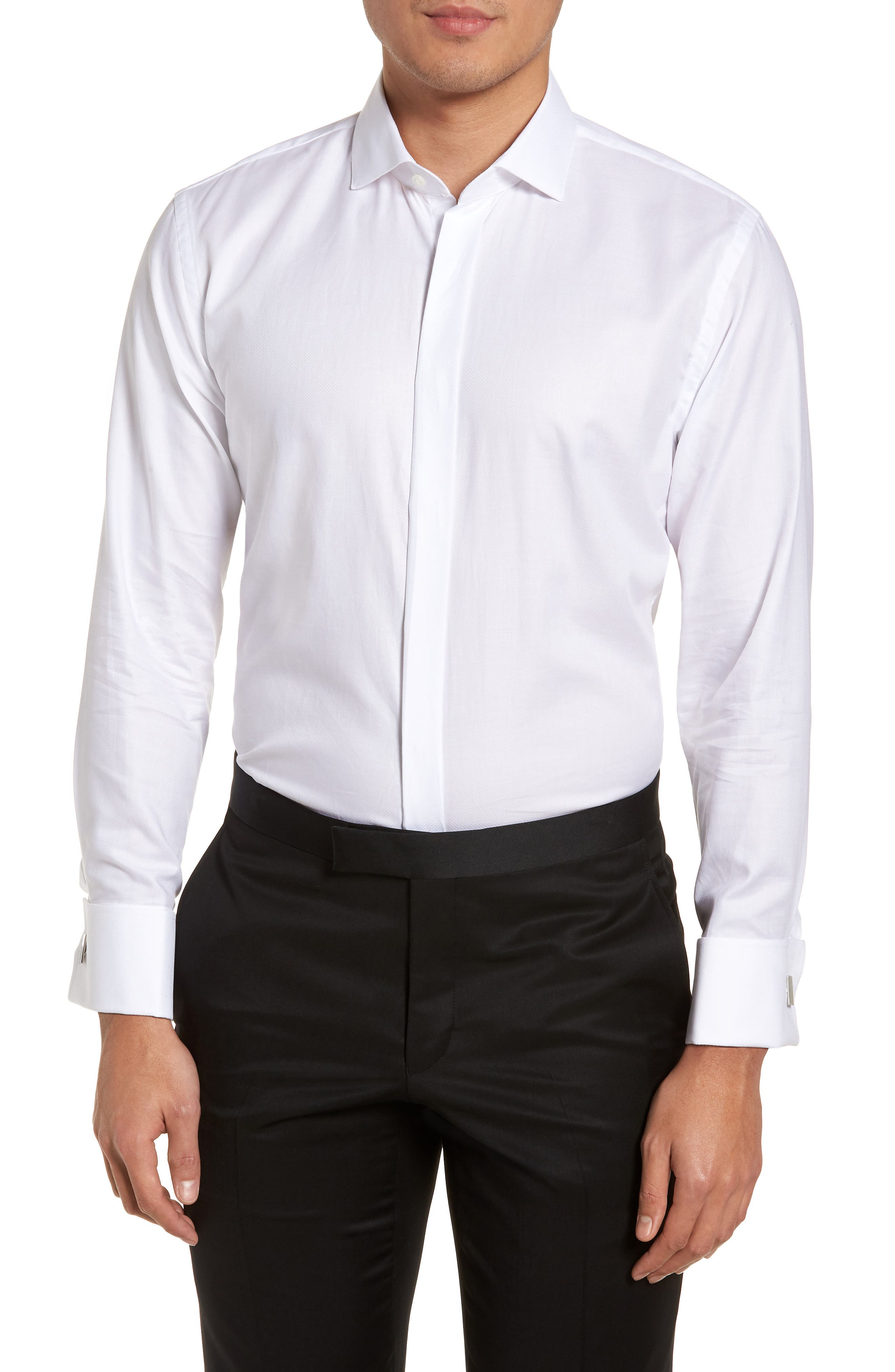 Main Image - Nordstrom Men's Shop Trim Fit Tuxedo Shirt