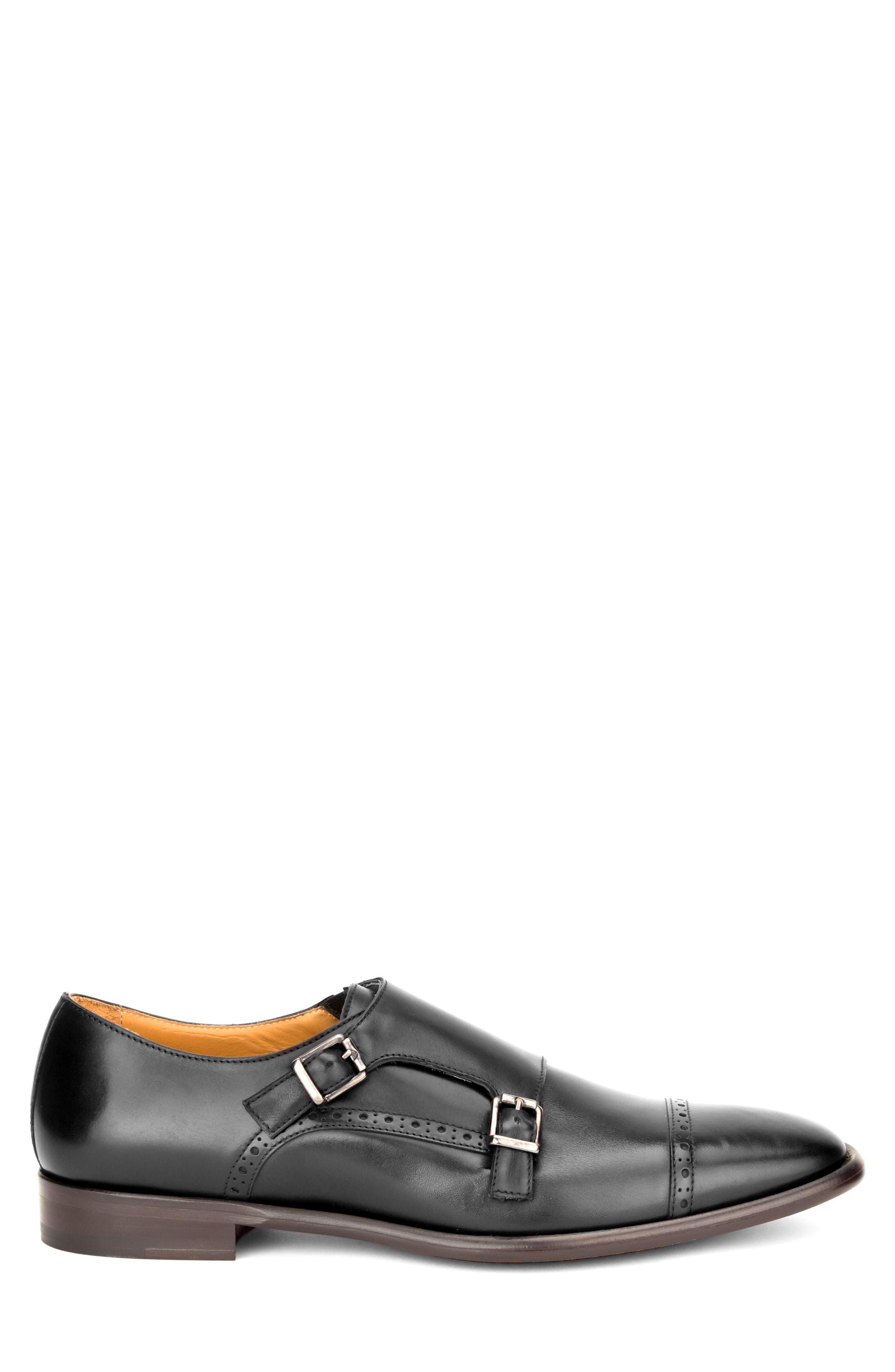 Corbett Cap Toe Double Strap Monk Shoe,                             Alternate thumbnail 3, color,                             Black Leather