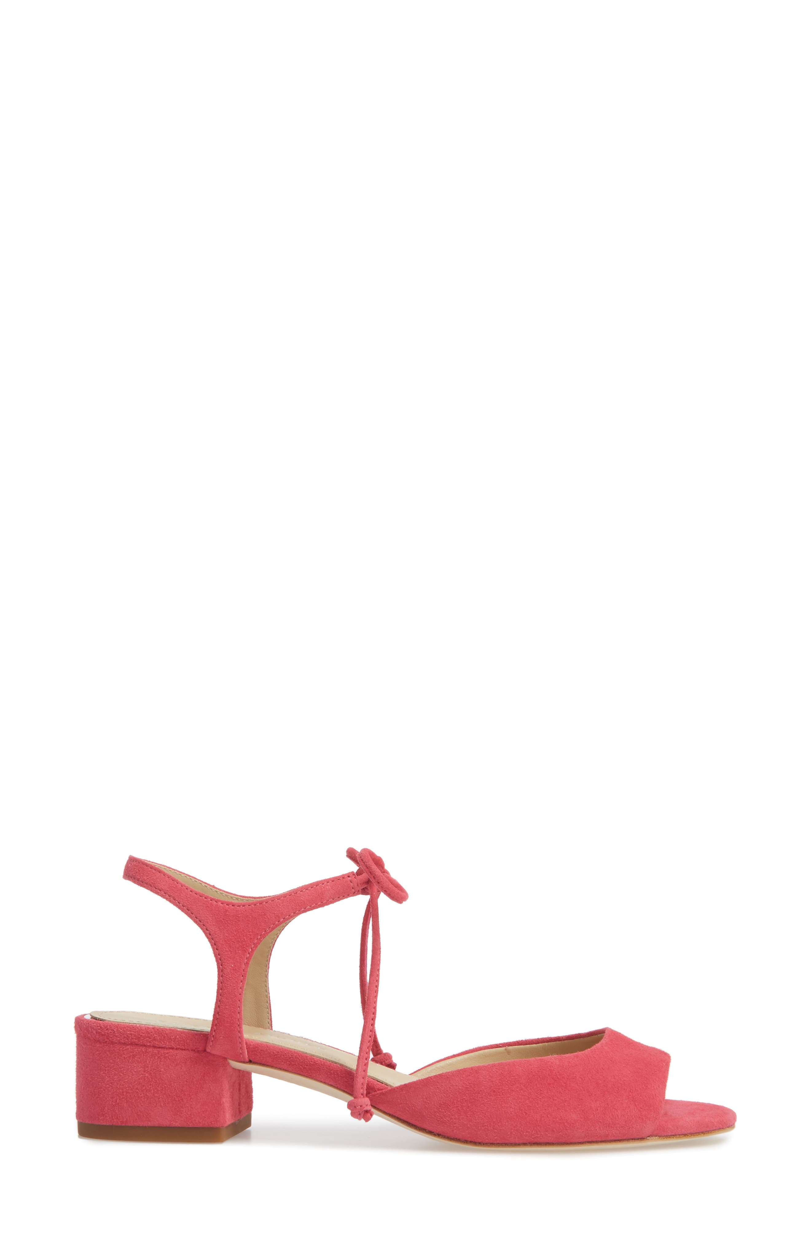 Belize Strappy Sandal,                             Alternate thumbnail 3, color,                             Peony Suede