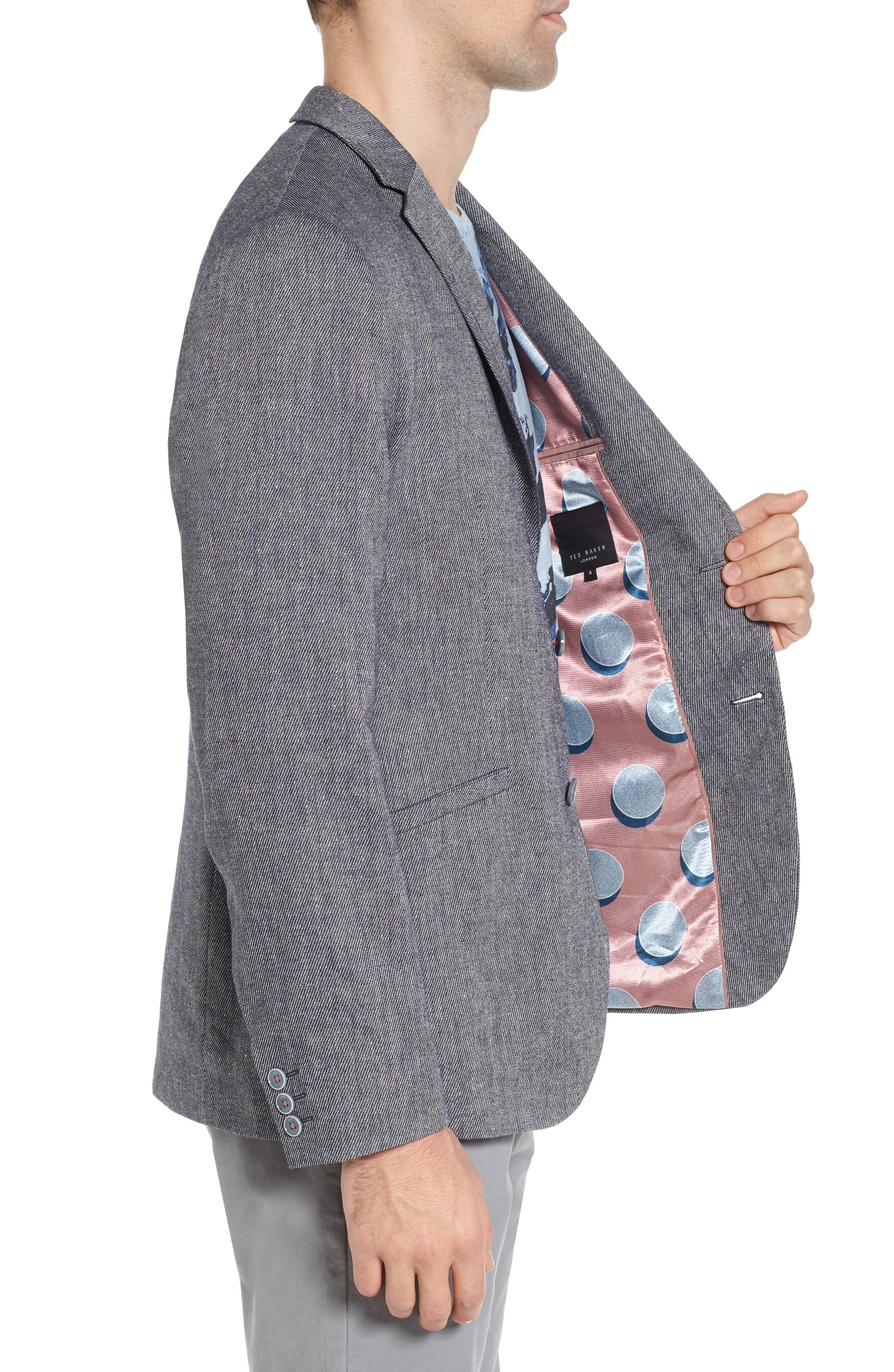 Hines Linen Blend Blazer,                             Alternate thumbnail 3, color,                             Blue