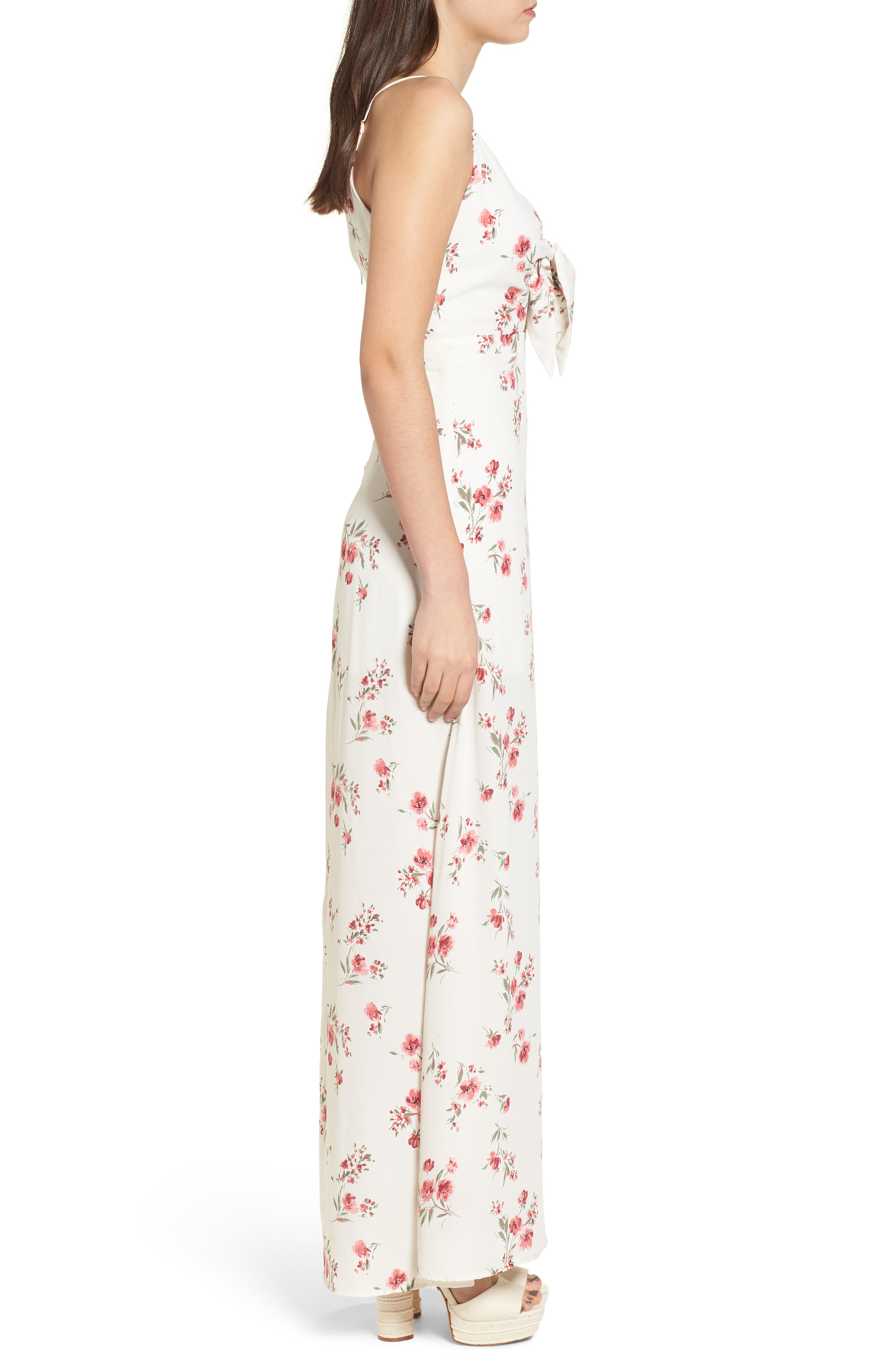 Tie Front Maxi Dress,                             Alternate thumbnail 4, color,                             Ivory Floral
