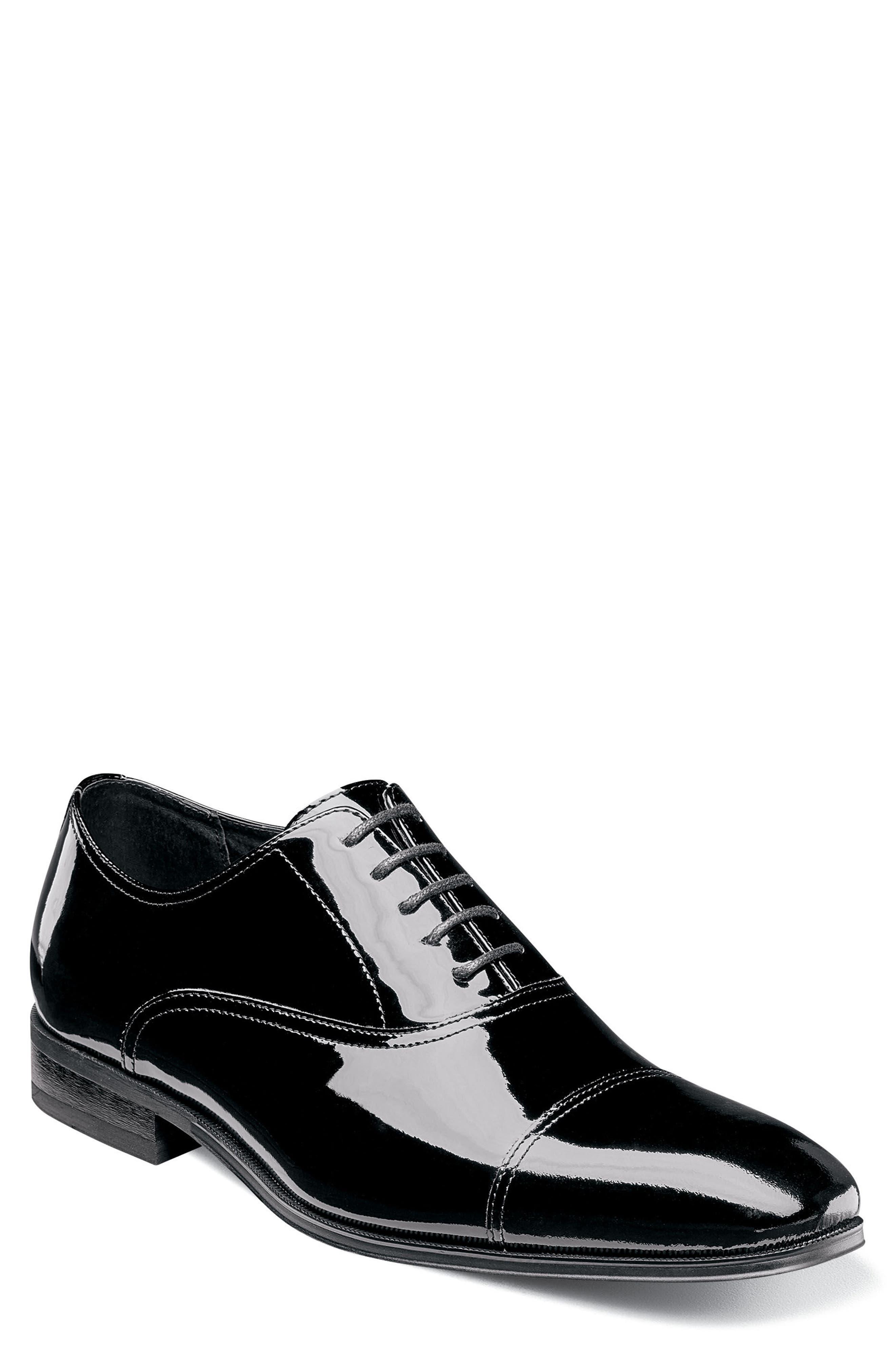 Tux Cap Toe Oxford,                             Main thumbnail 1, color,                             Black Patent Leather