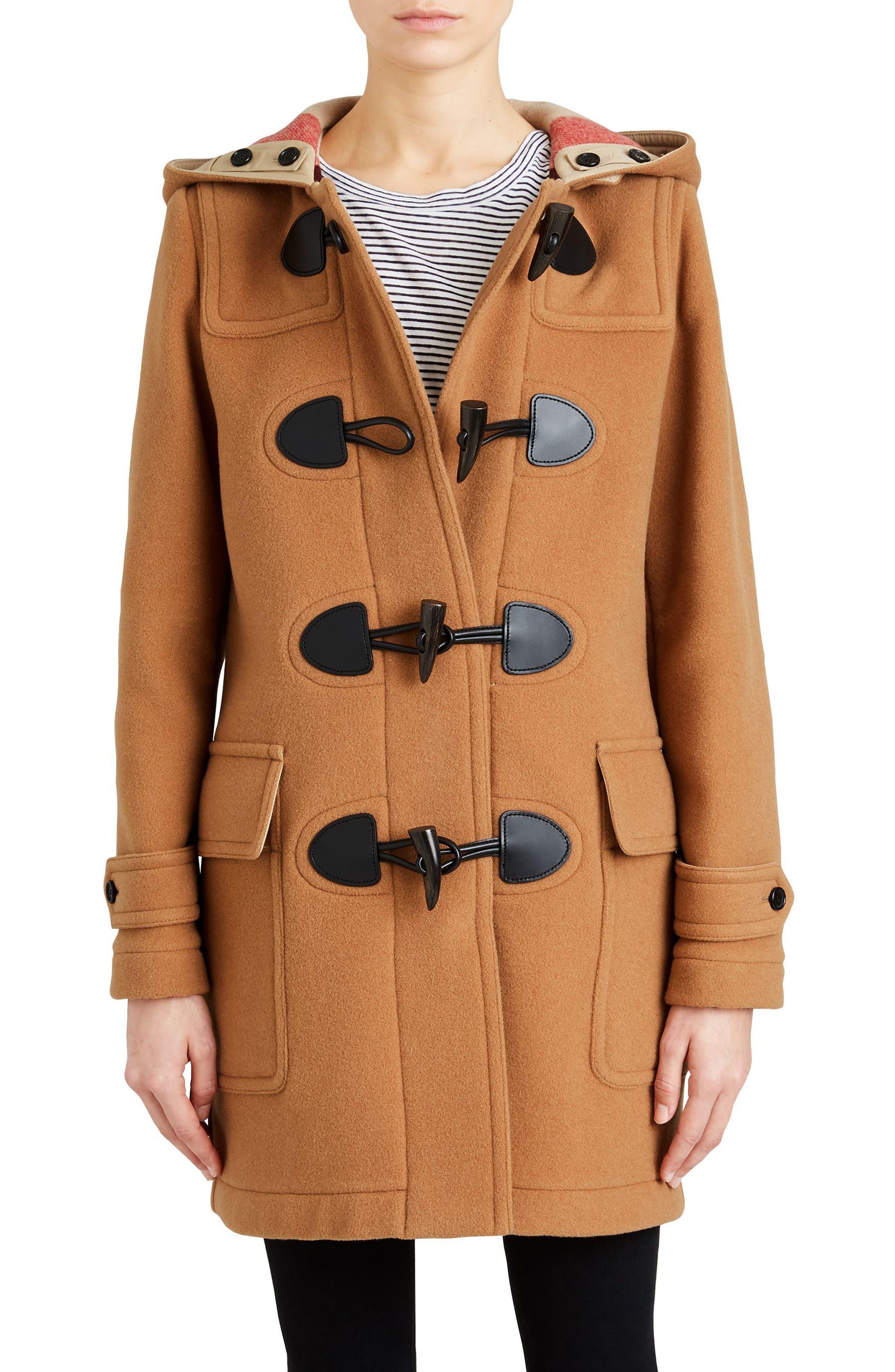Mersey Wool Blend Duffle Coat,                             Main thumbnail 1, color,                             Mid Camel