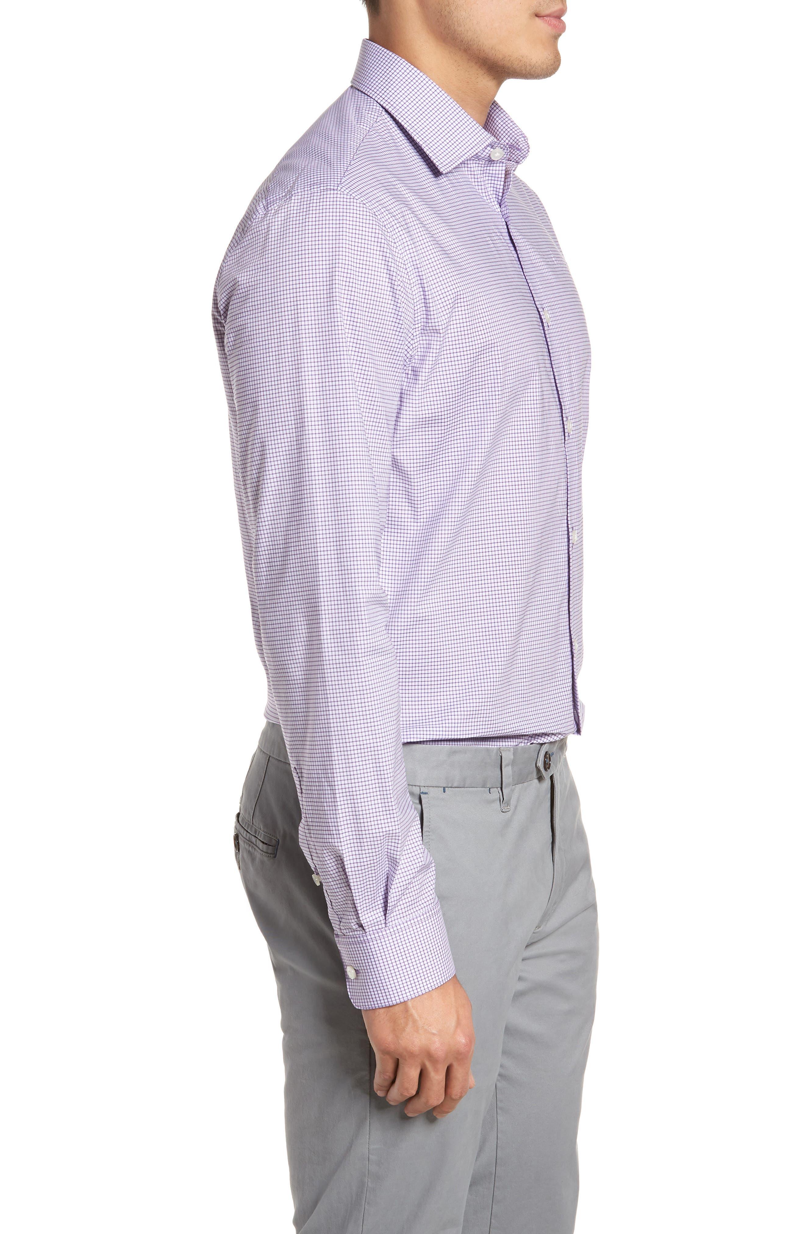 Regular Fit Stretch Check Dress Shirt,                             Alternate thumbnail 4, color,                             Purple