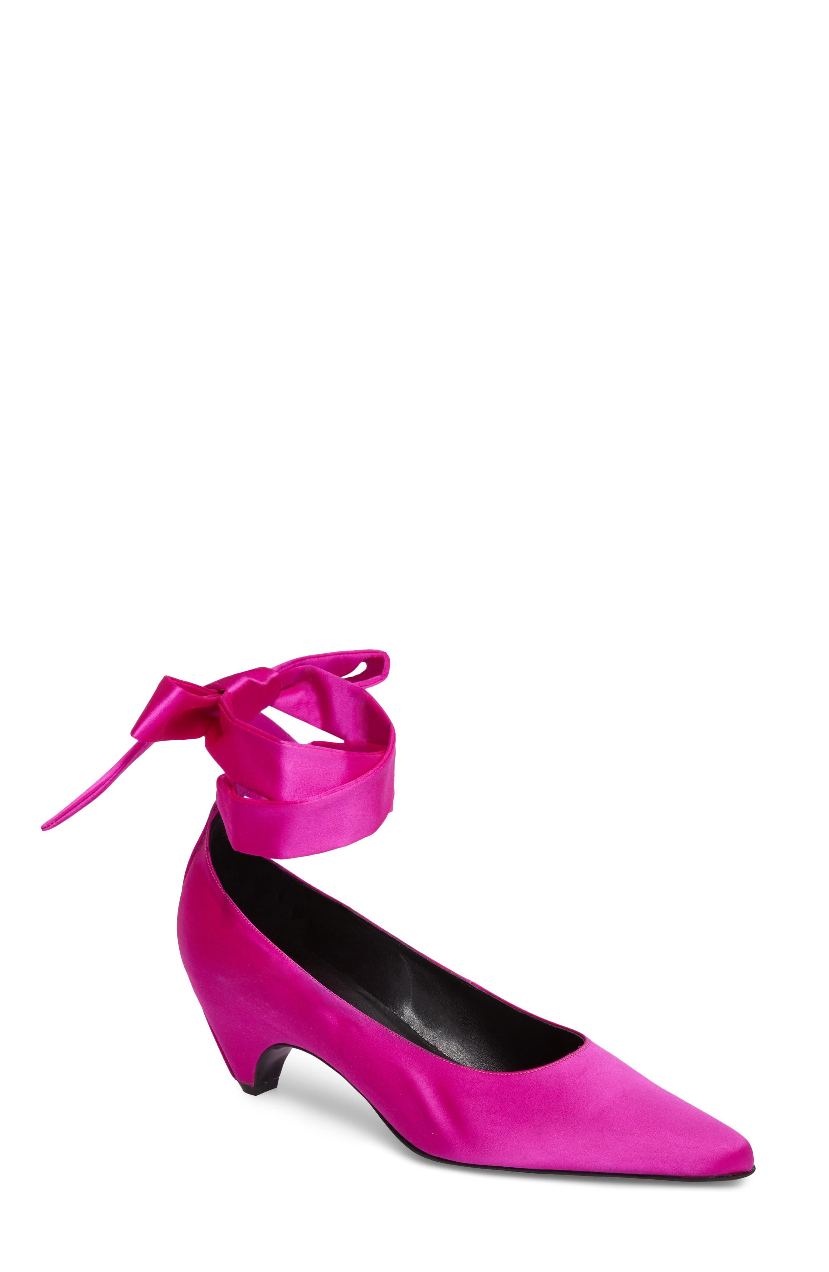 Ankle Wrap Pump,                         Main,                         color, Pink