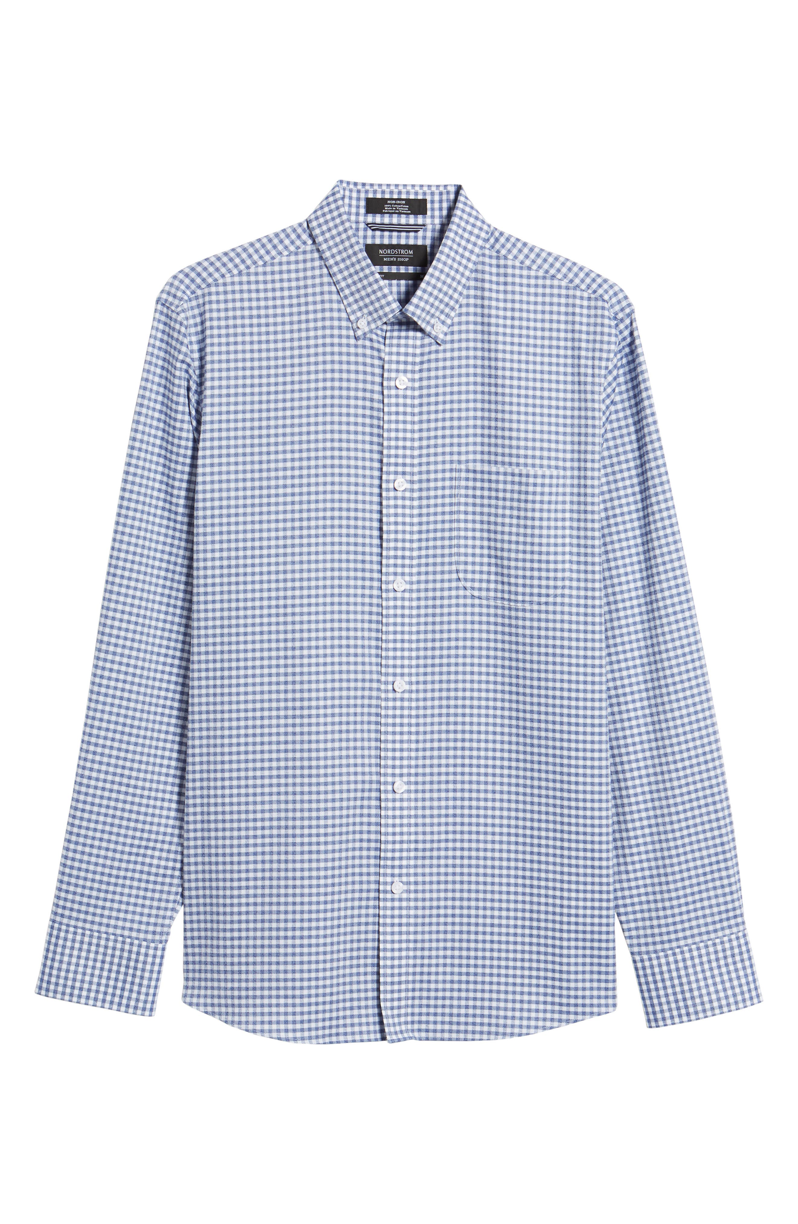 Trim Fit Check Sport Shirt,                             Alternate thumbnail 6, color,                             Navy White Jacquard Gingham