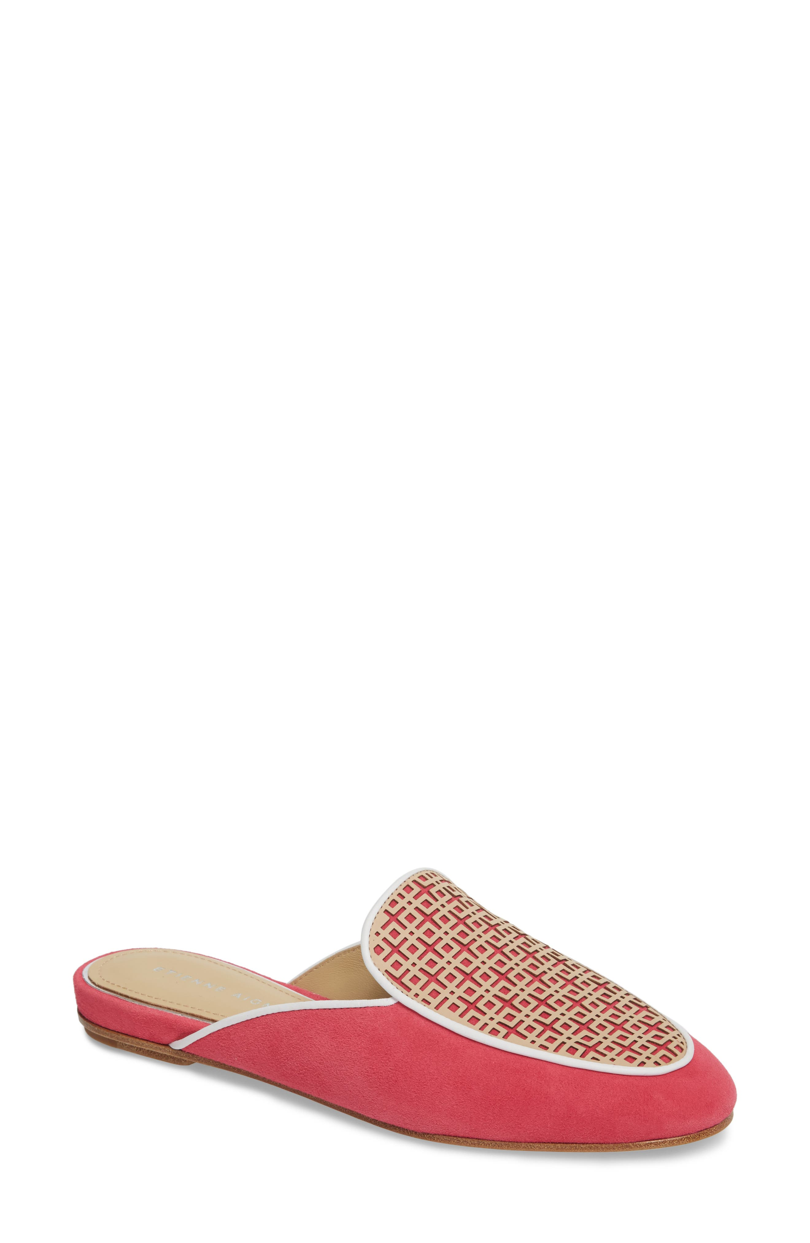 Caymen Mule,                             Main thumbnail 1, color,                             Natural/ Peony/ White