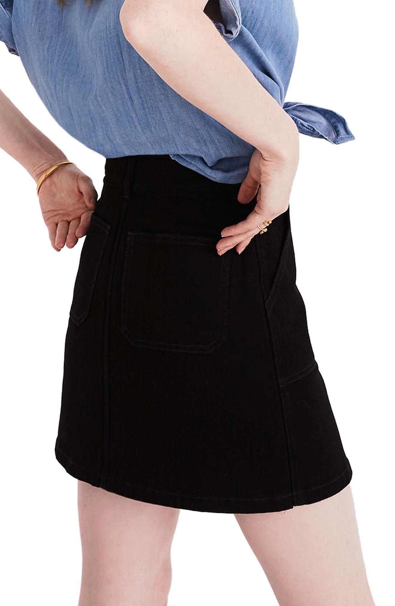Zip Denim Utility Miniskirt,                             Alternate thumbnail 2, color,                             Black Frost