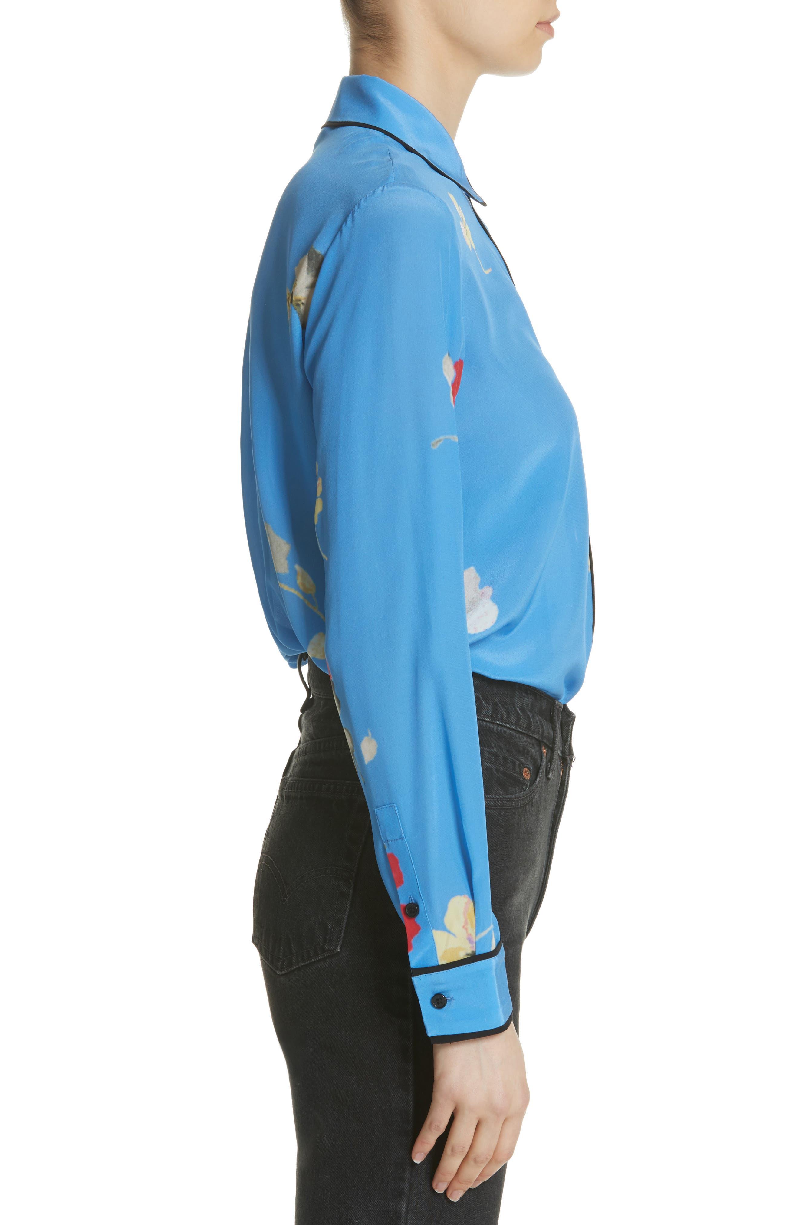 Joycedale Floral Silk Shirt,                             Alternate thumbnail 3, color,                             Marina