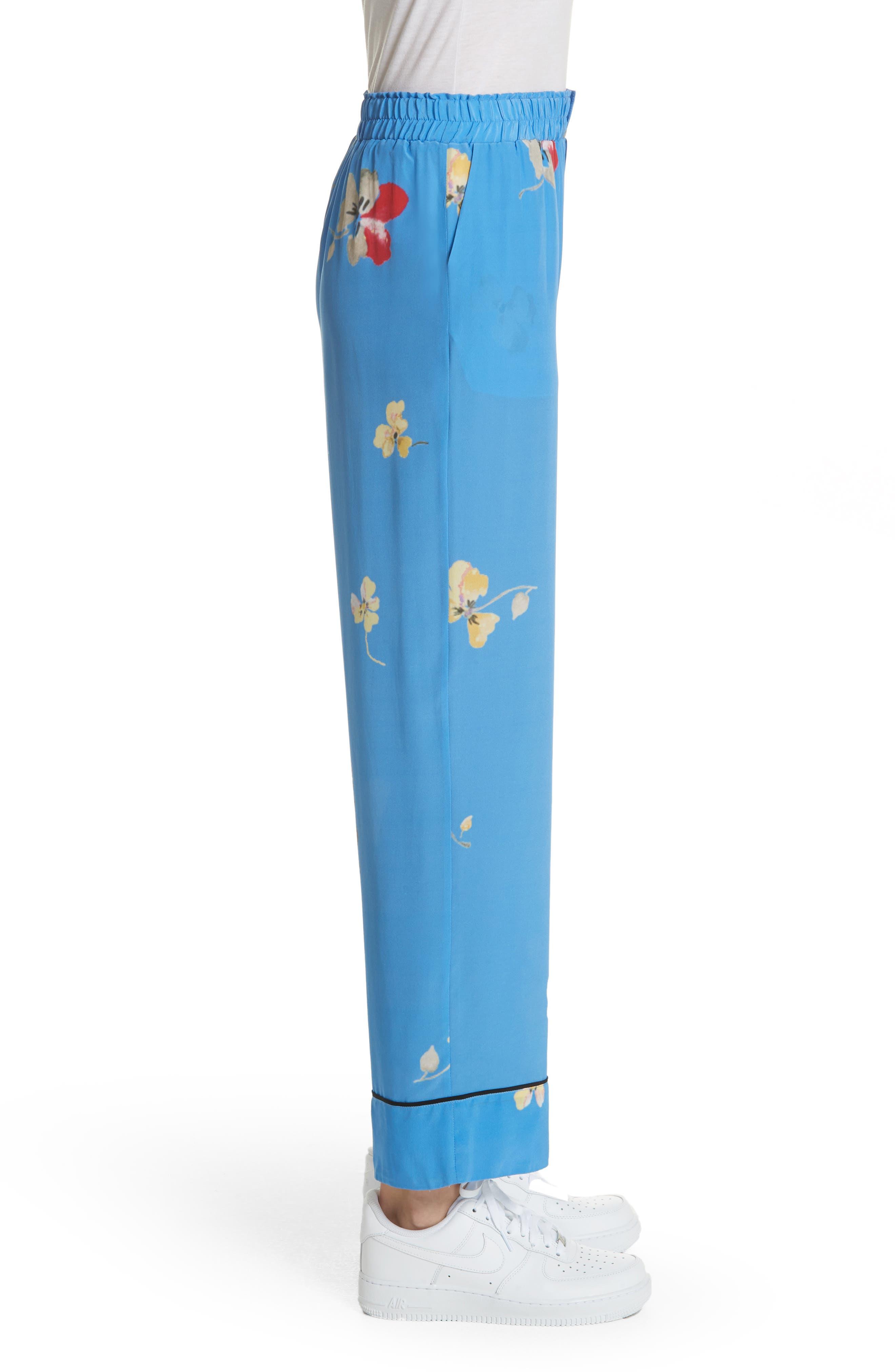 Joycedale Floral Silk Lounge Pants,                             Alternate thumbnail 3, color,                             Marina