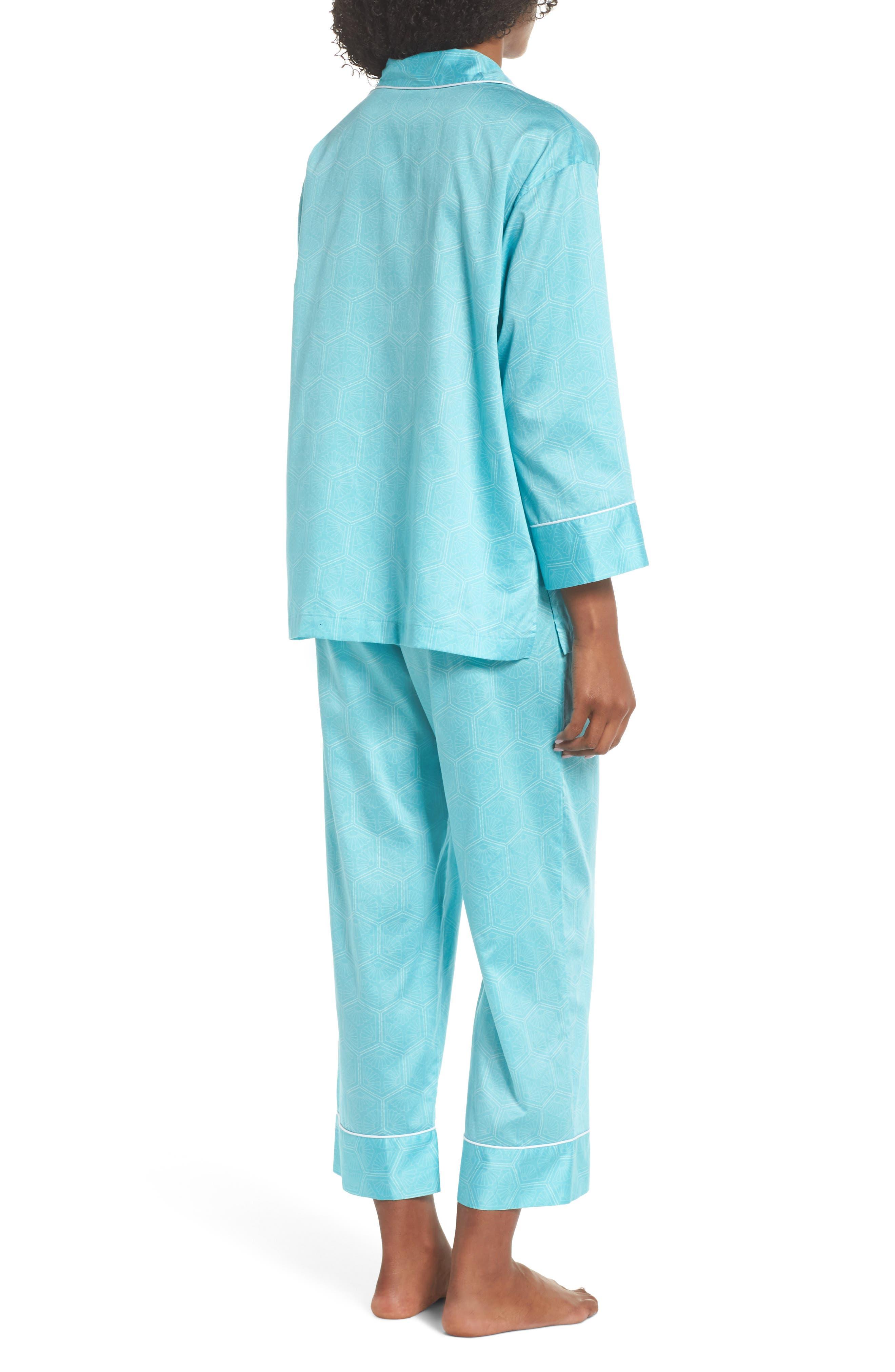 Fan Print Cotton Pajamas,                             Alternate thumbnail 2, color,                             Sea Glass