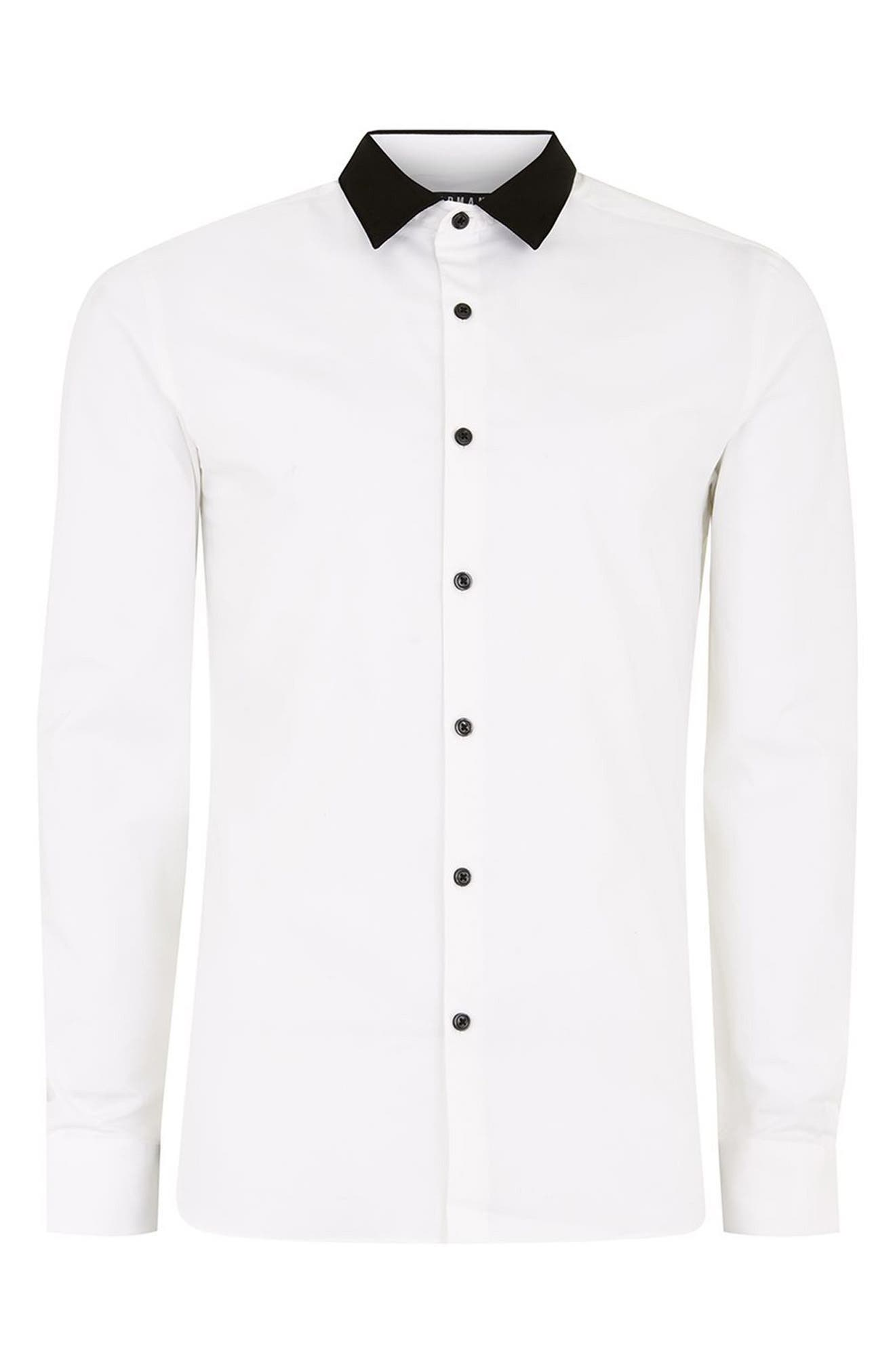 Muscle Fit Contrast Collar Sport Shirt,                             Alternate thumbnail 6, color,                             White Multi