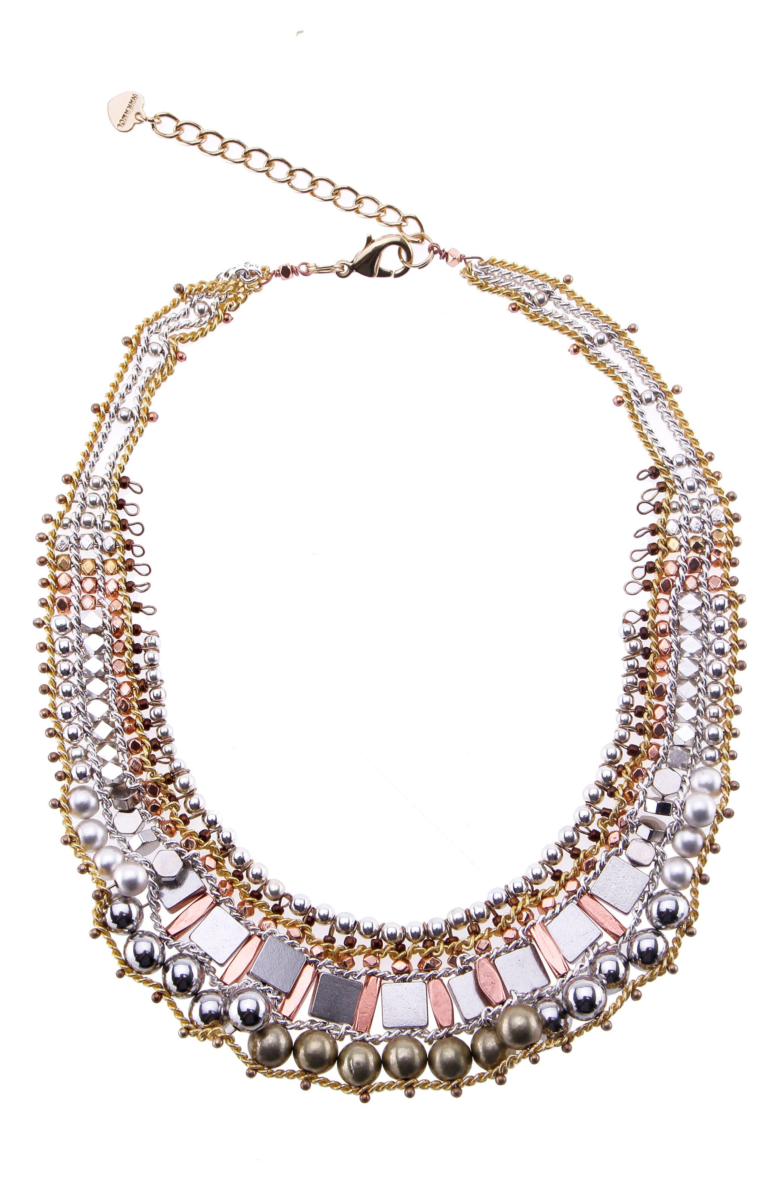 Mixed Metal Collar Necklace,                         Main,                         color, Gold/ Silver