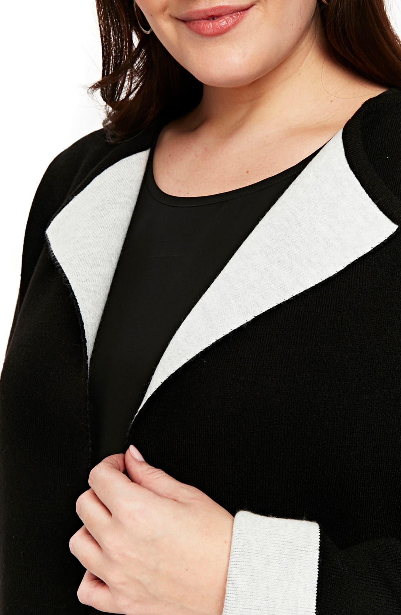 Contrast Cardigan Coat,                             Alternate thumbnail 2, color,                             Black