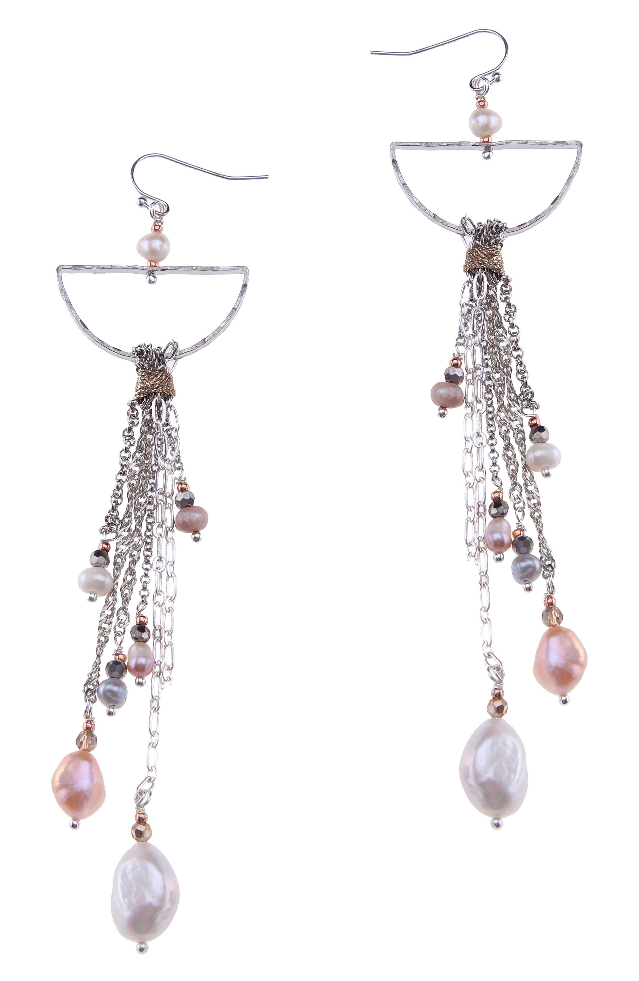 Freshwater Pearl & Chain Statement Earrings,                             Main thumbnail 1, color,                             White Pearl