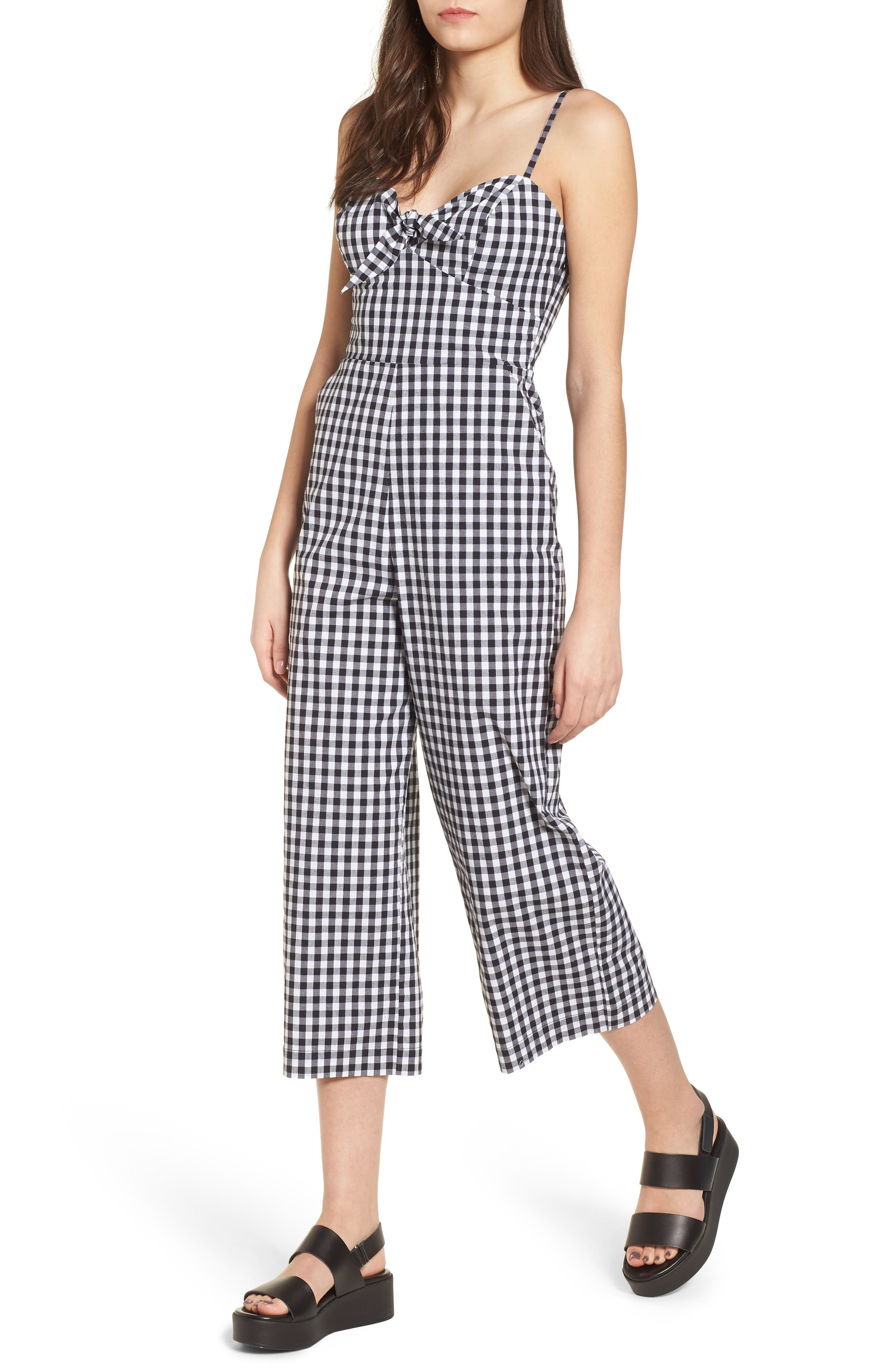 Tie Front Cropped Jumpsuit,                         Main,                         color, Black/ White Gingham