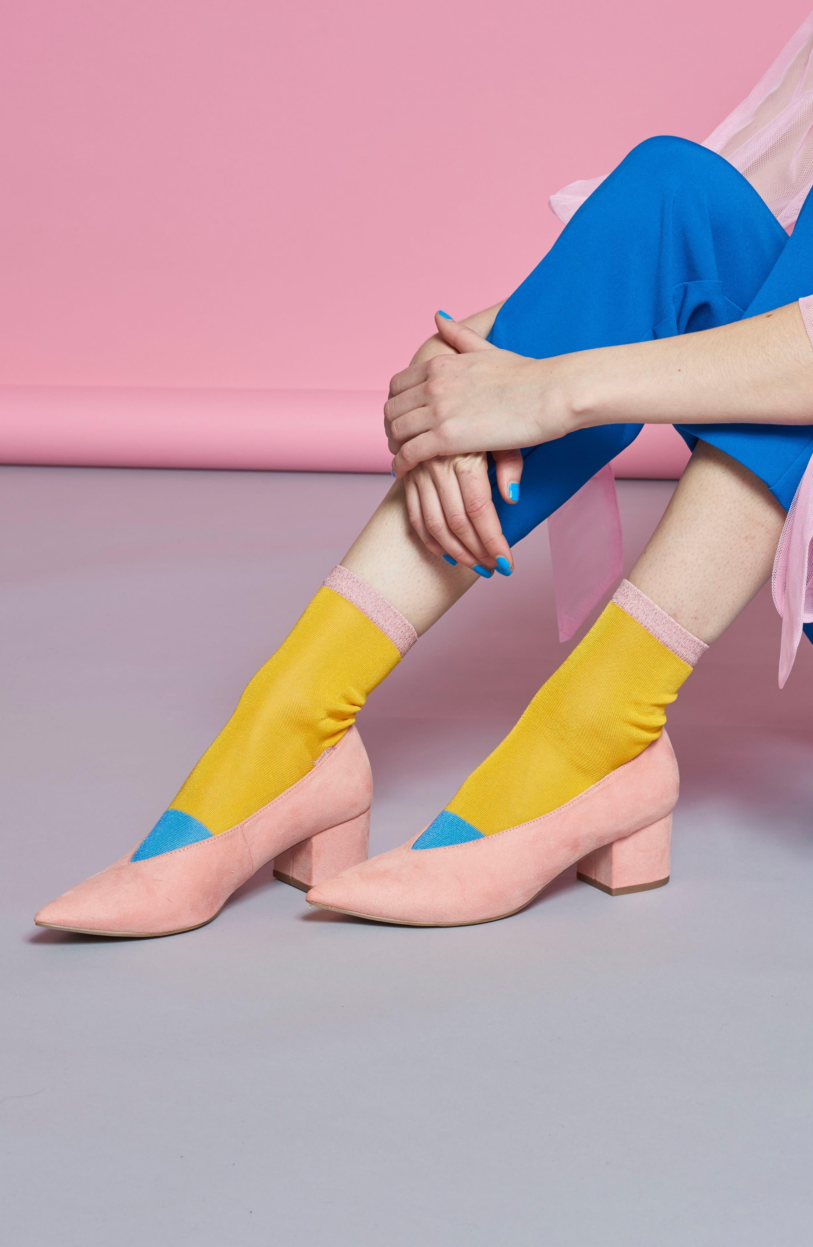 Liza Sparkle Ankle Socks,                             Alternate thumbnail 4, color,                             Yellow