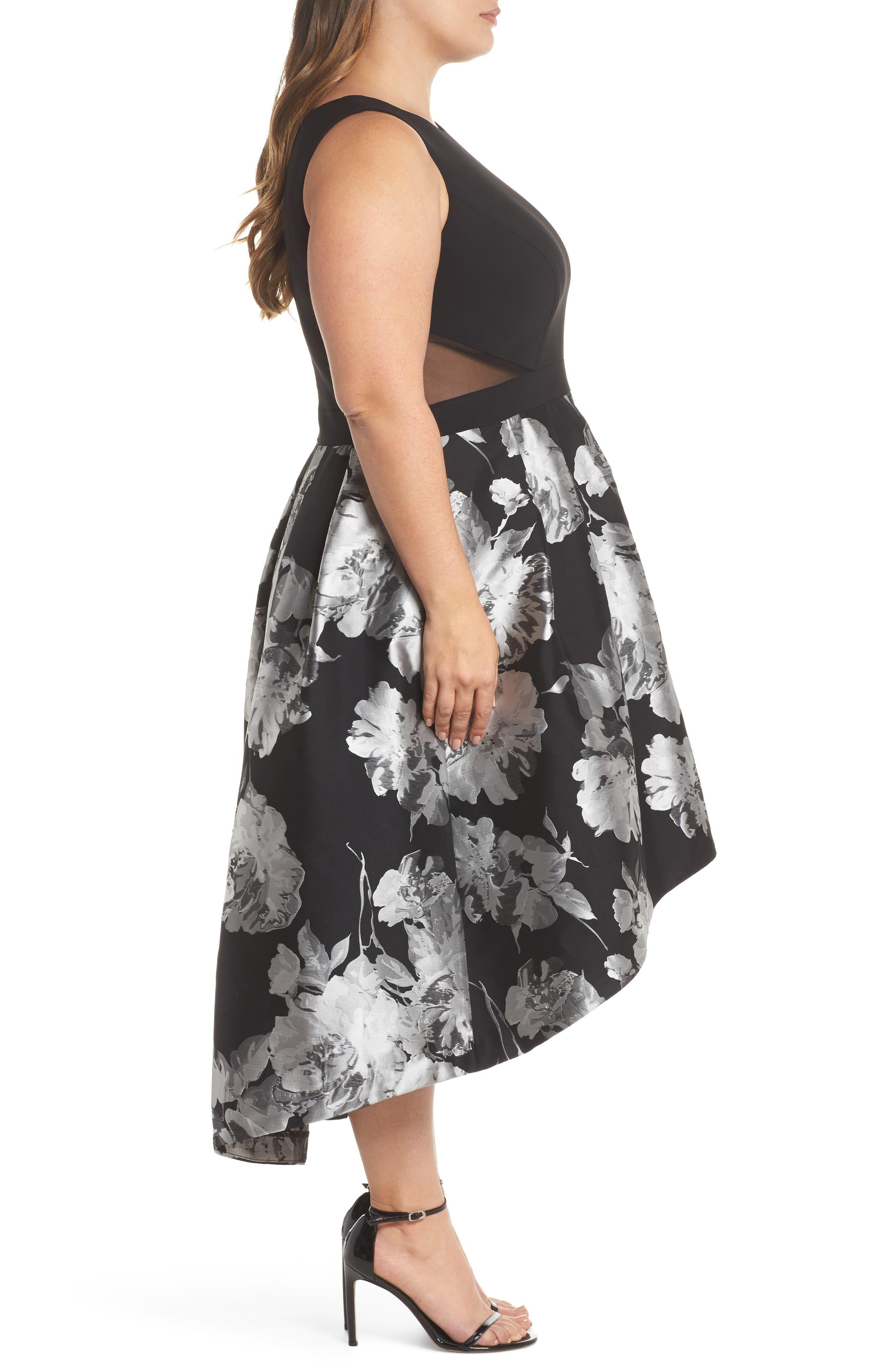 Brocade High/Low Dress,                             Alternate thumbnail 3, color,                             Black/ Silver