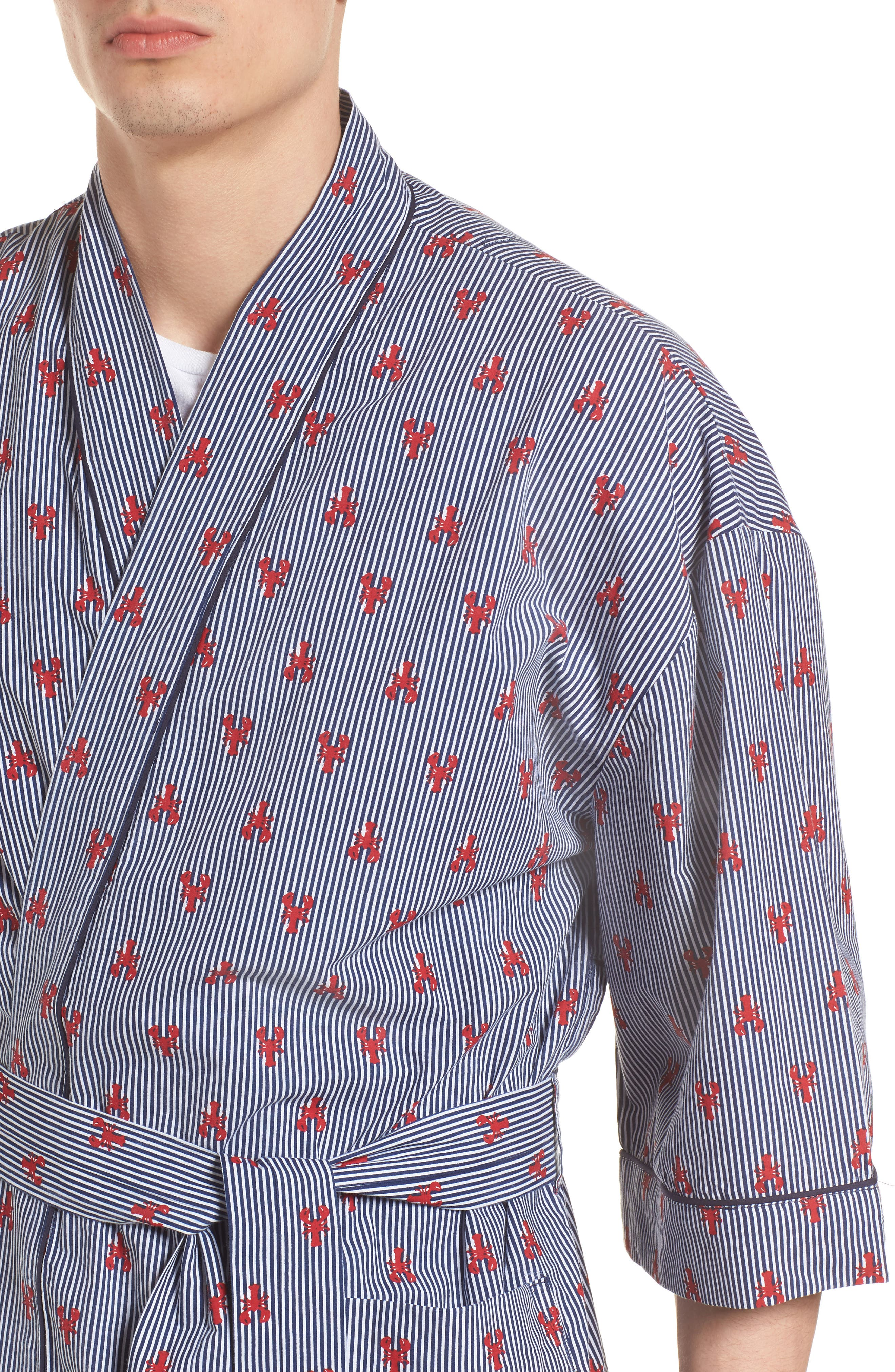 All Hands On Deck Robe,                             Alternate thumbnail 4, color,                             Lobster Stripe