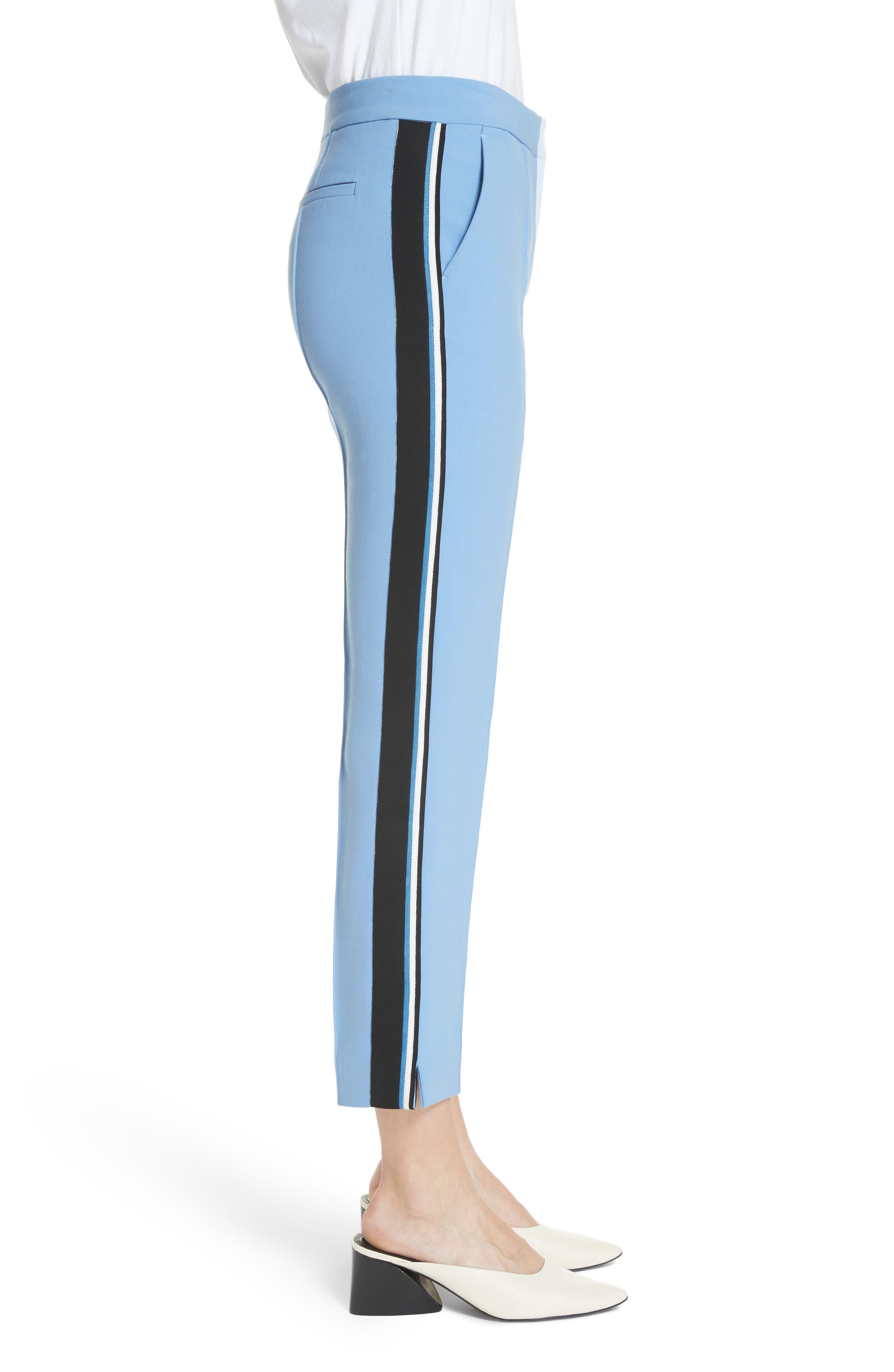 Stripe Split Hem Pants,                             Alternate thumbnail 3, color,                             Lagoon Blue