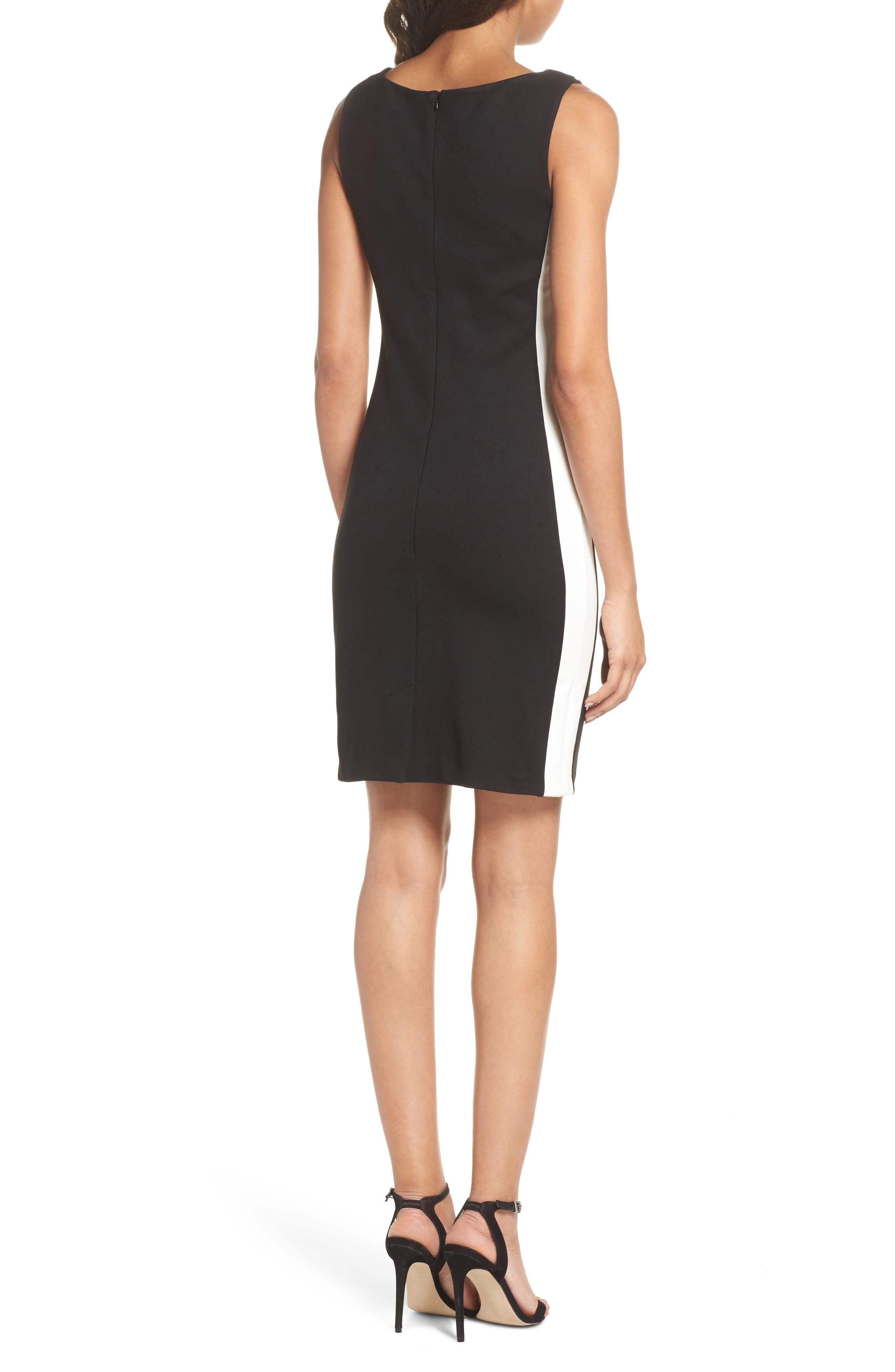 Lore Lula Colorblock Ponte Sheath Dress,                             Alternate thumbnail 2, color,                             Black/ Summer White